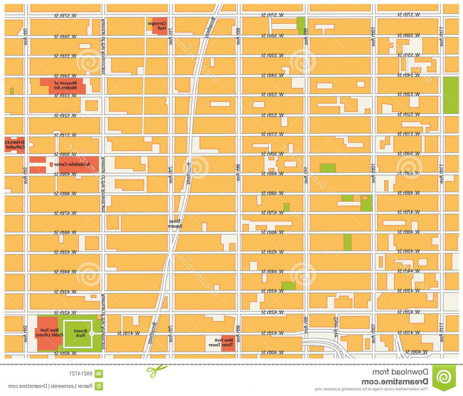 Midtown East Map Vector: Stock Illustration Theater District Map New York Midtown Manhattan City Image