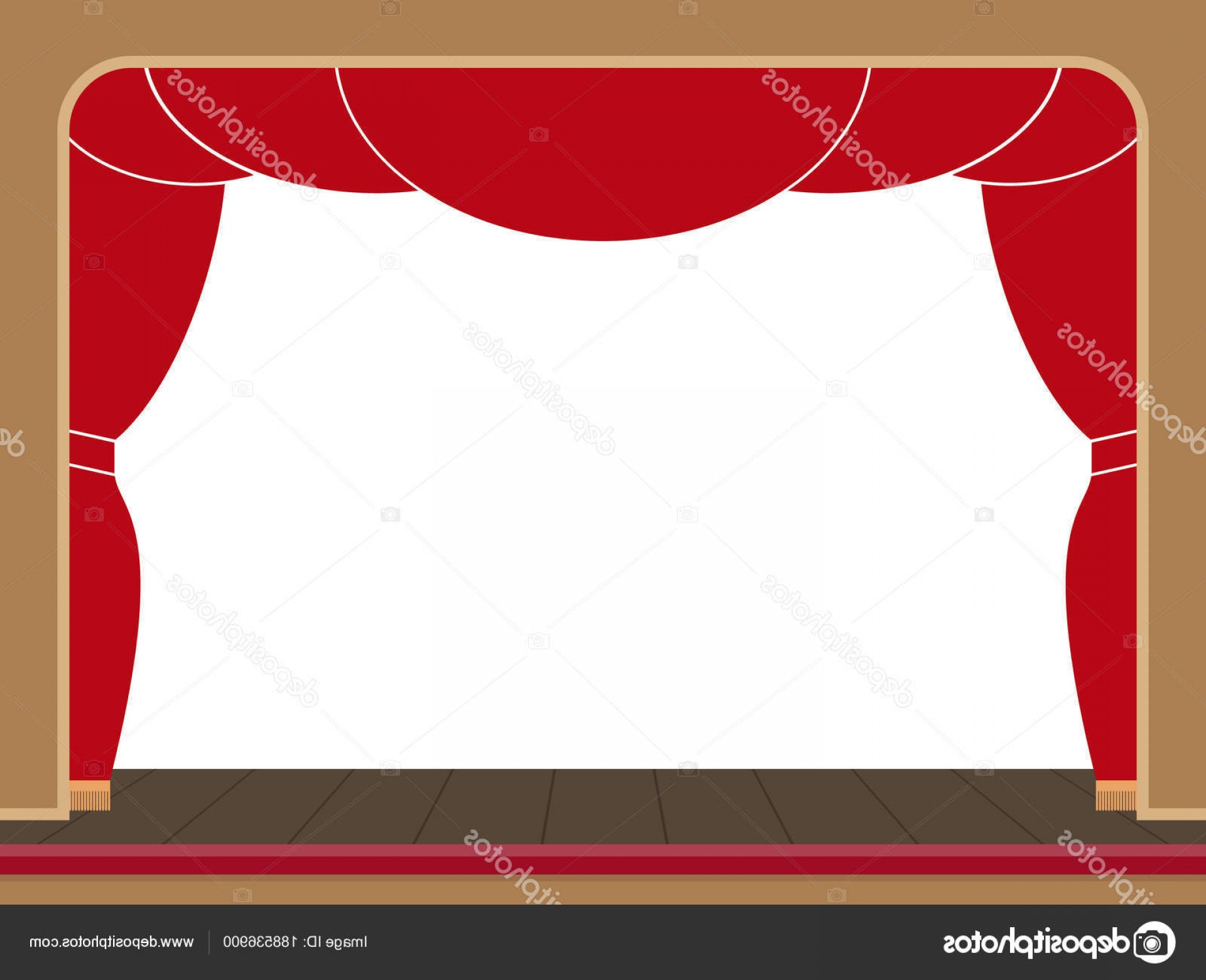 Stage Curtain Vector: Stock Illustration Theater Stage With An Open