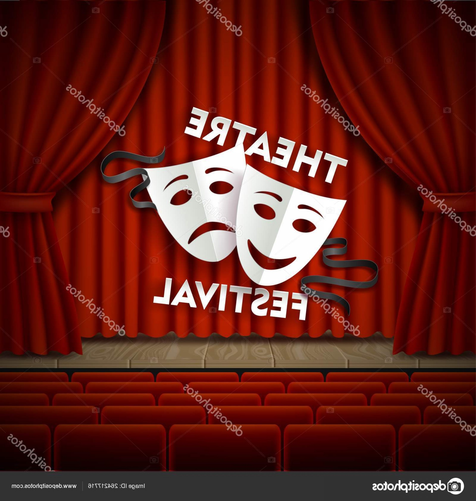 Vector Stage Audience: Stock Illustration Theatre Festival Stage And Audience