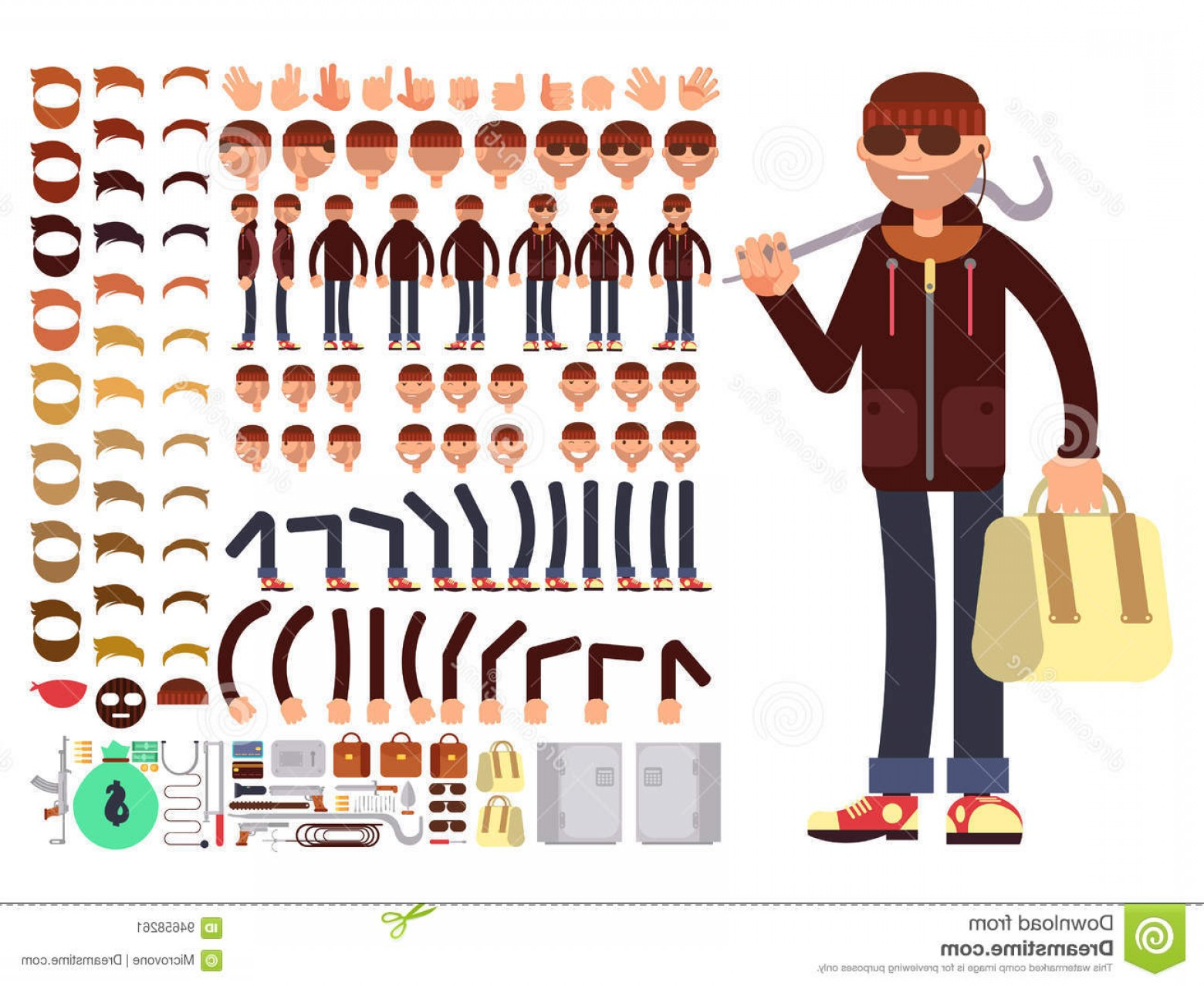 Vector Constructor: Stock Illustration Thief Bandit Vector Character Creation Constructor Robber Man Black Mask Big Set Body Parts Create Image
