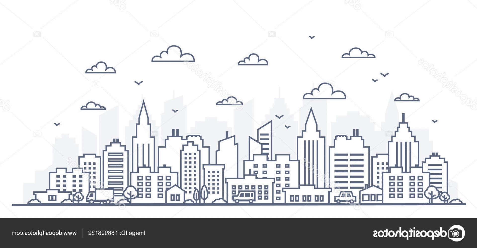 Cars Skyline Vector: Stock Illustration Thin Line Style City Panorama