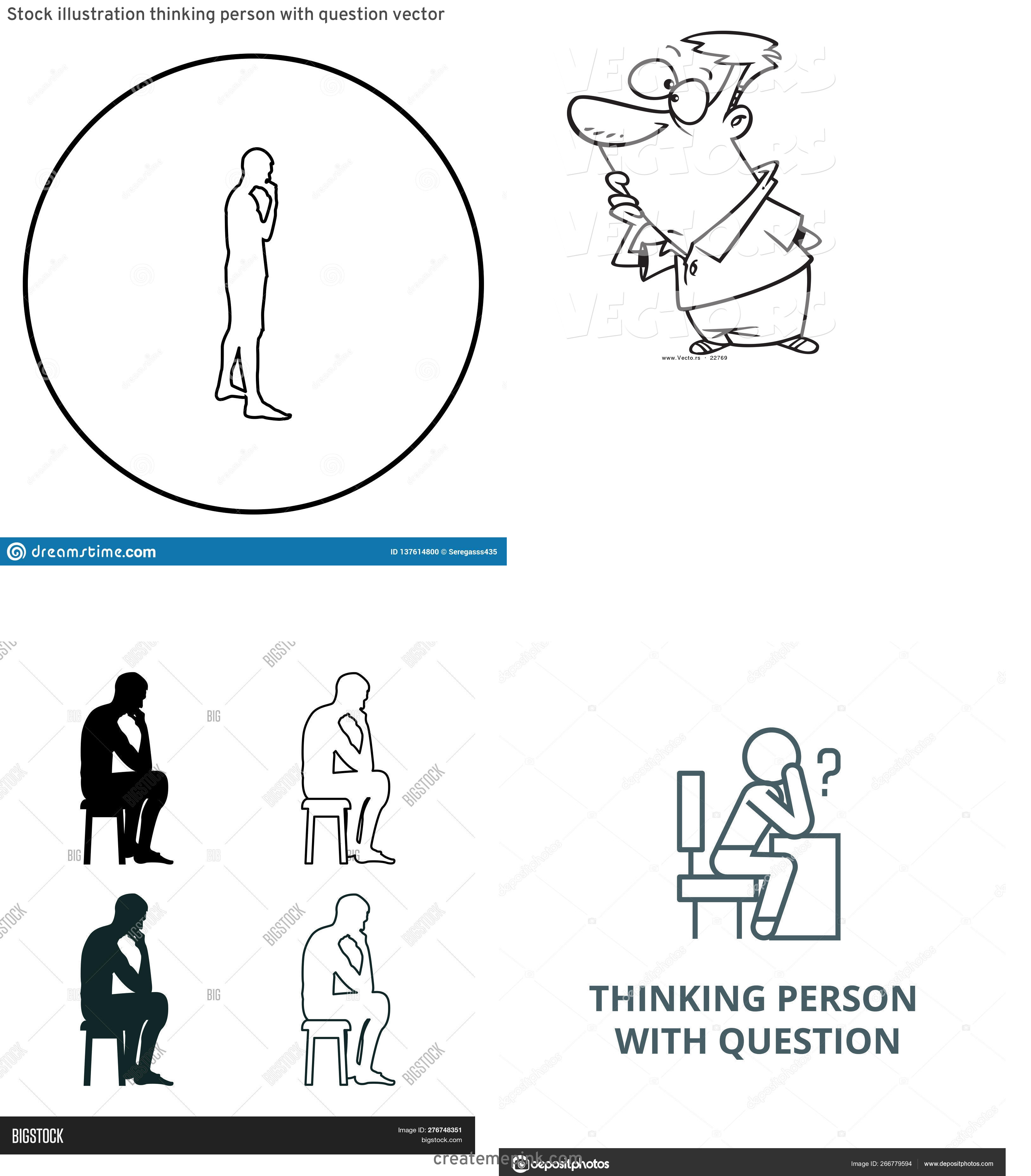 Person Thinking Outline Vector: Stock Illustration Thinking Person With Question Vector
