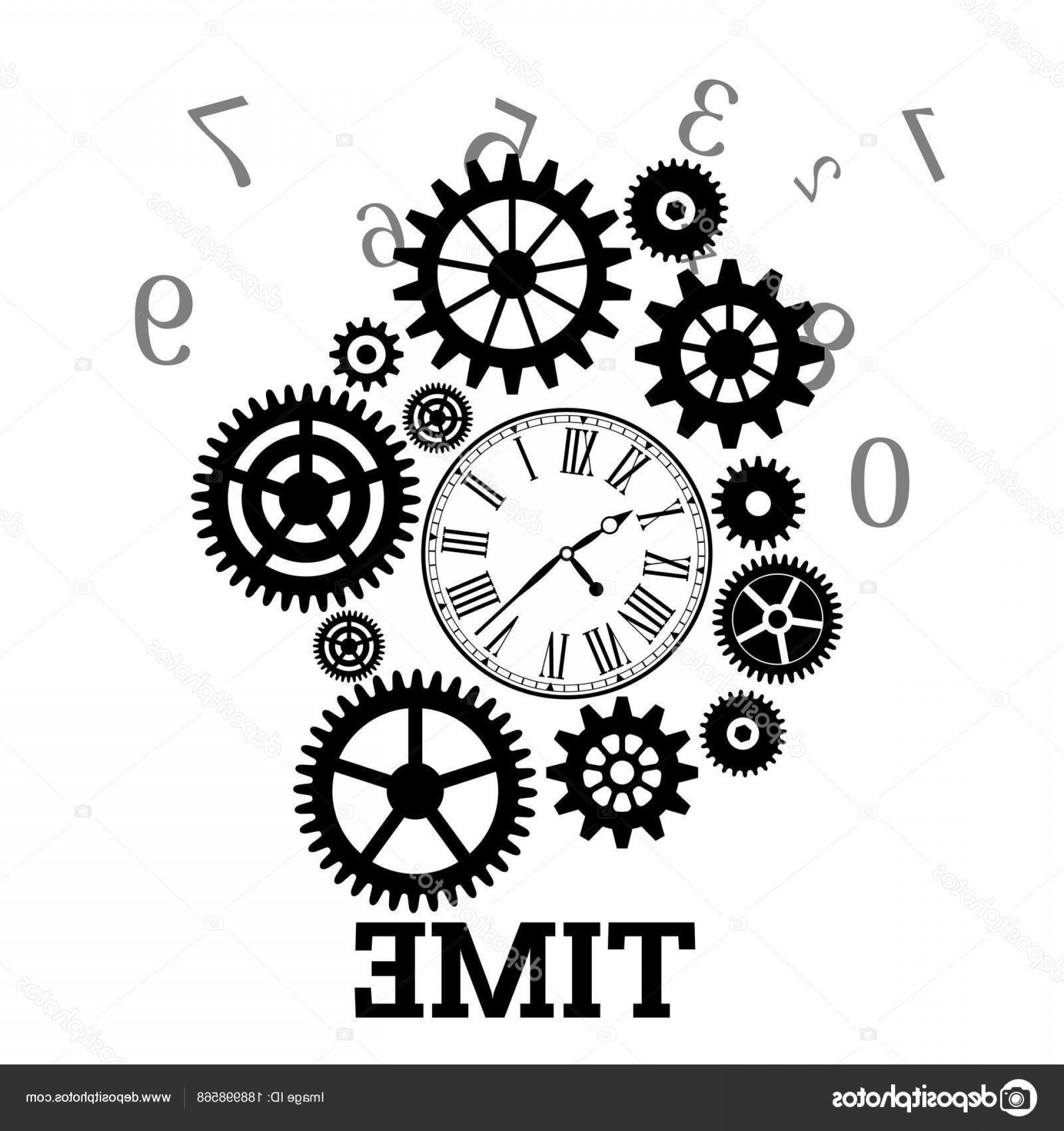 Watch Gears Vector: Stock Illustration Time Clock Gears Cog Background
