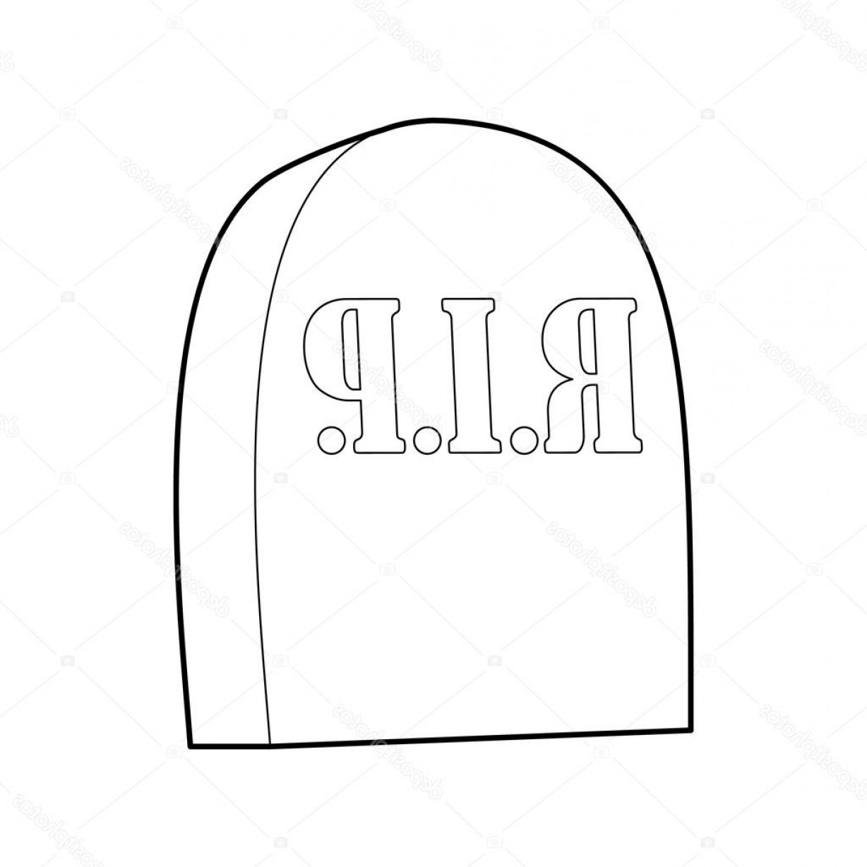 Gravestone Outline Vector: Stock Illustration Tombstone With Rip Icon Outline