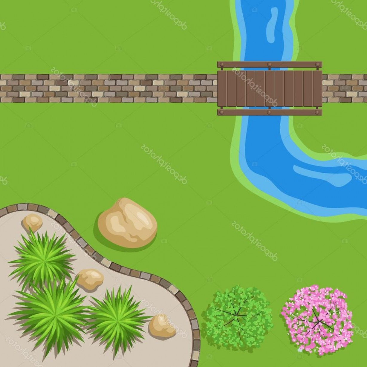 Vector Stone Landscaping: Stock Illustration Top View Landscape Garden