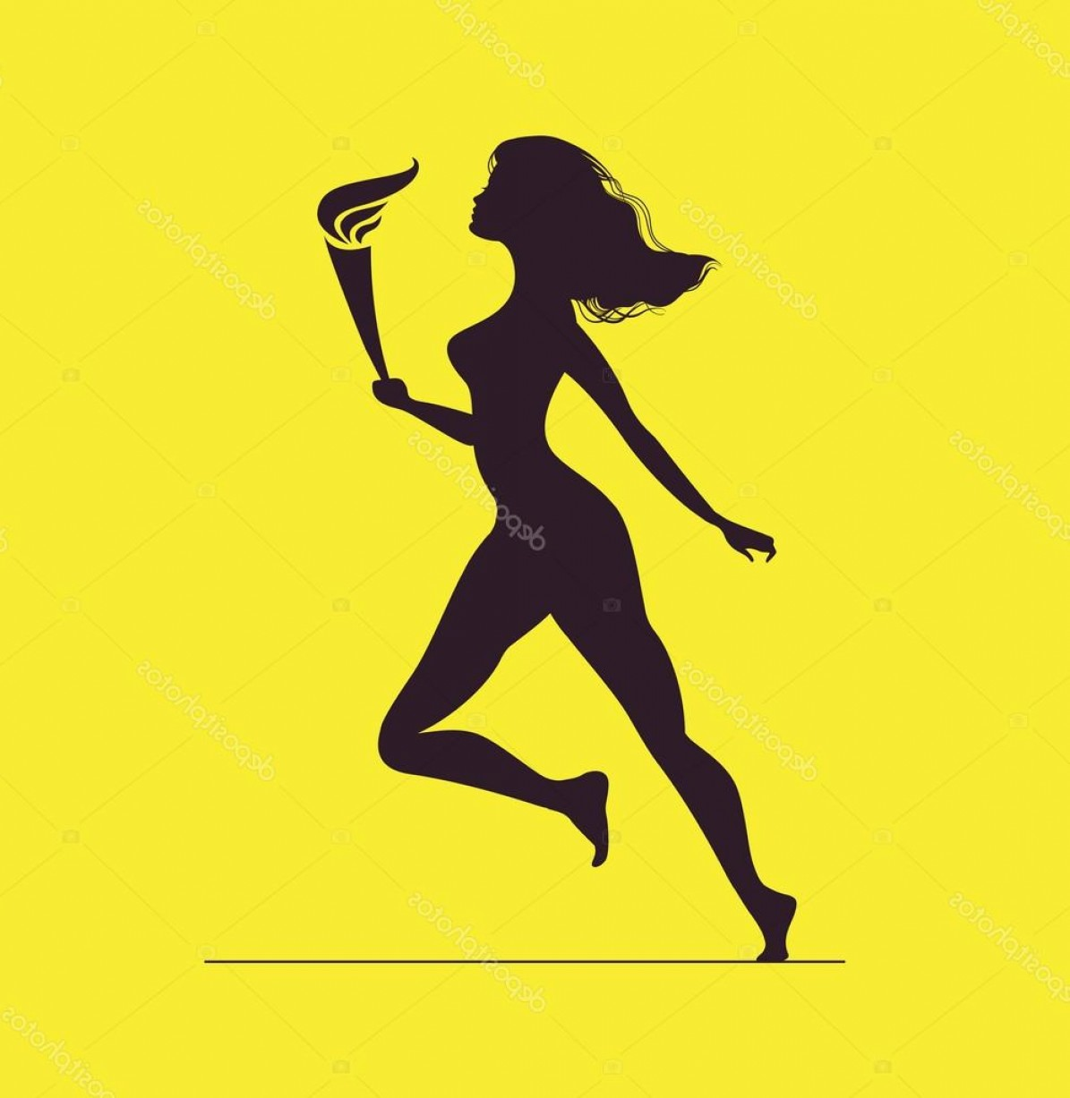 Athlete Vectors: Stock Illustration Torchbearer Athlete With Olympic Flame