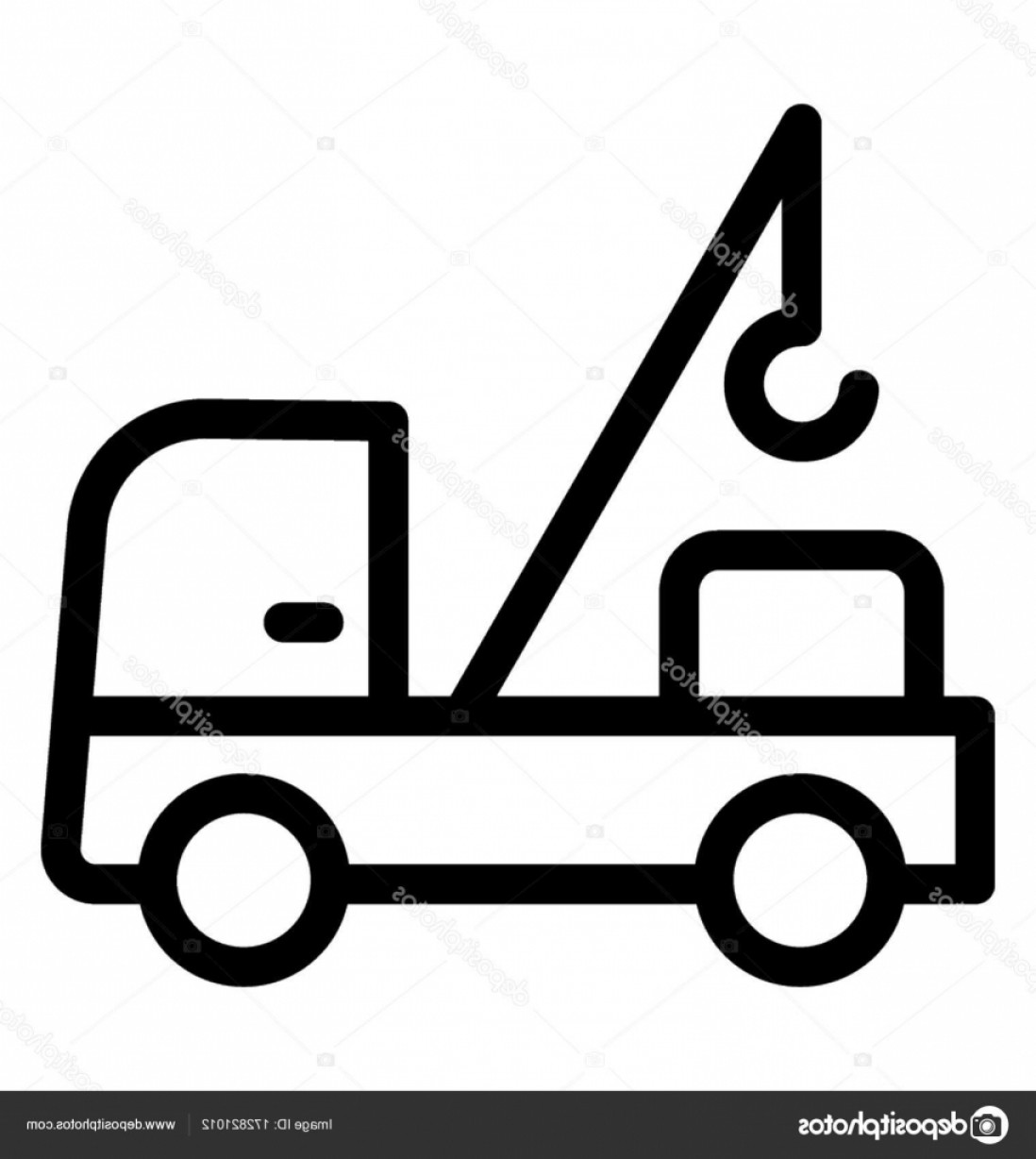 Towing Vector Clip Art: Stock Illustration Tow Truck Line Vector Icon