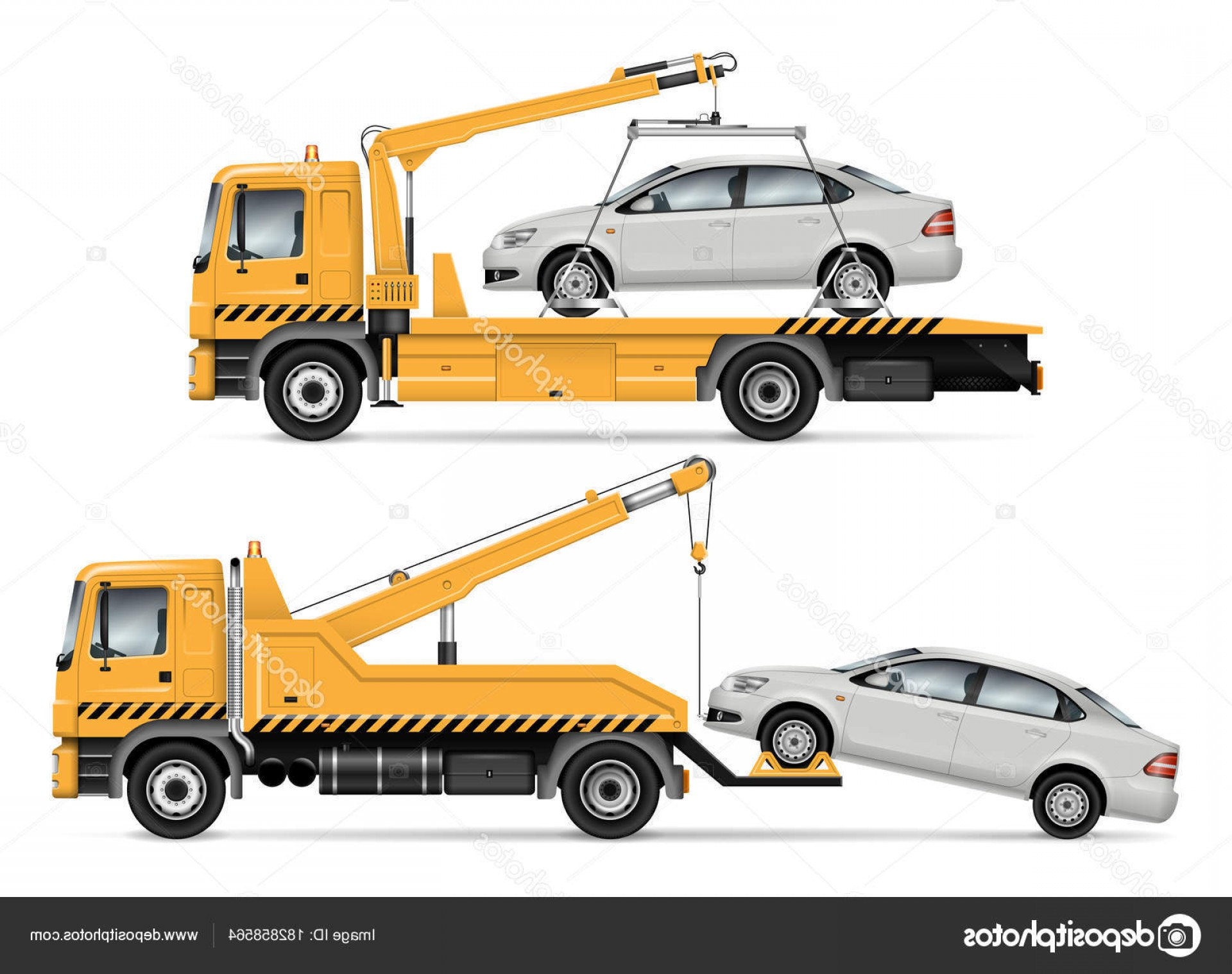 Packages On A Truck Vector: Stock Illustration Tow Truck Vector Illustration