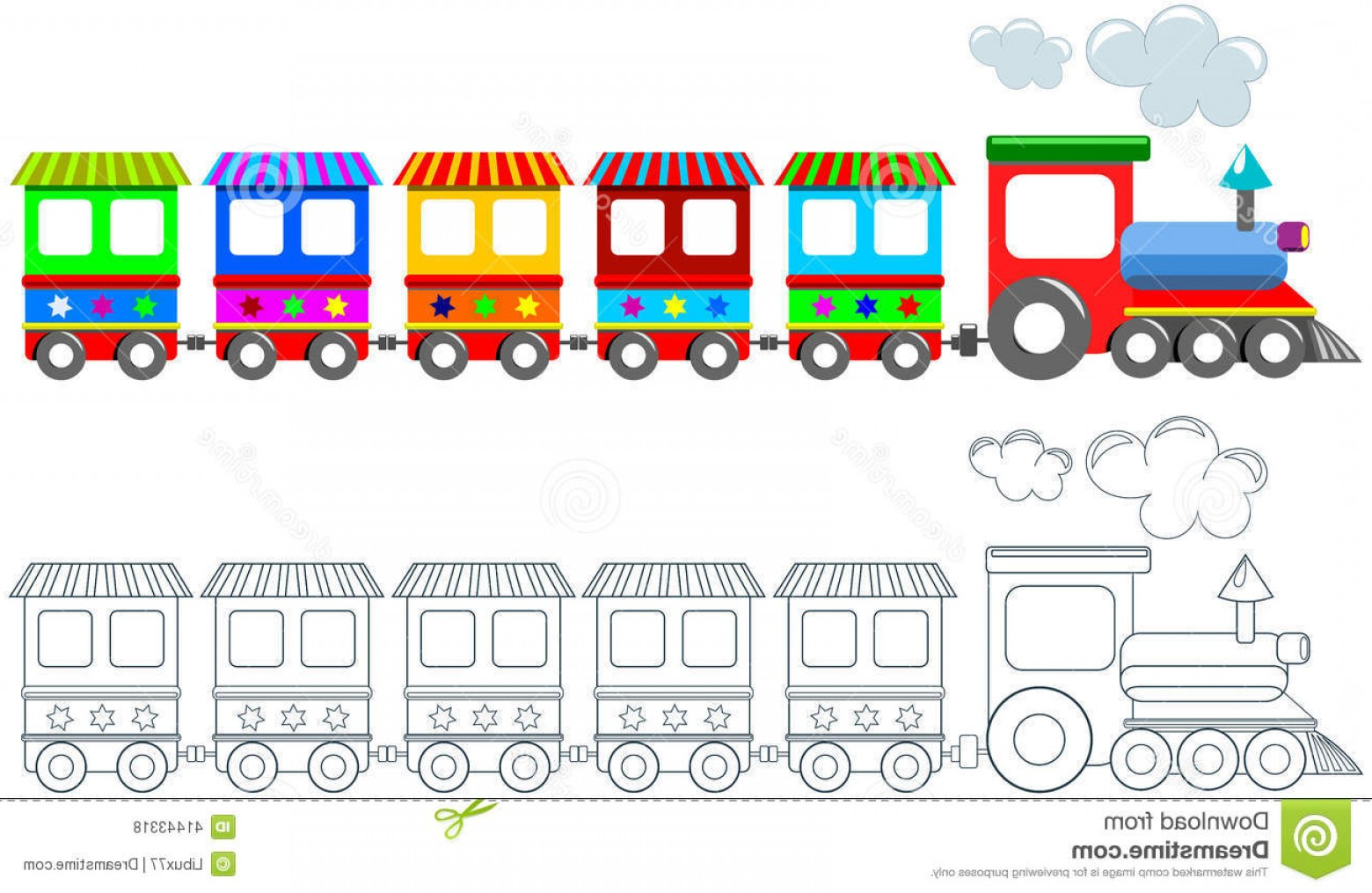 Vector Train Pattern: Stock Illustration Toy Colorful Train Coloring Page Isolated Printable Children Featuring White Background Illustration Image