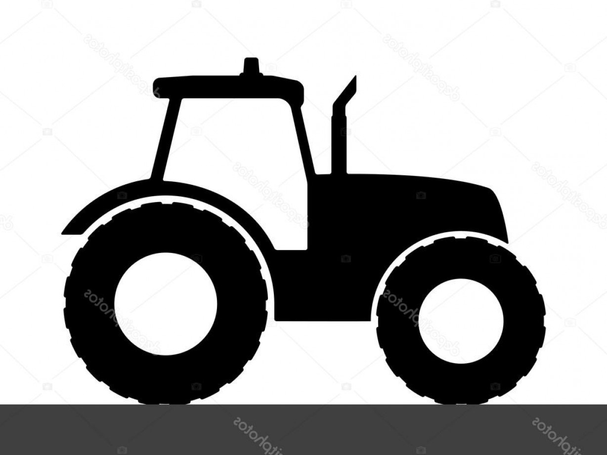 Tractor Silhouette Vector Art: Stock Illustration Tractor Silhouette On A White