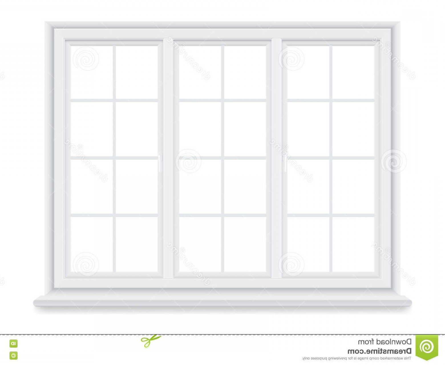 Clay Window Vector: Stock Illustration Traditional Big White Window Isolated Background Closed Realistic Vector Element Architecture Interior Design Image
