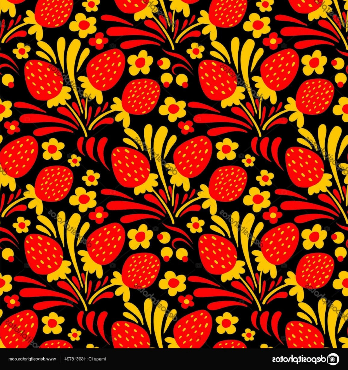 Russian Patterns Vector: Stock Illustration Traditional Russian Hohloma Style Seamless