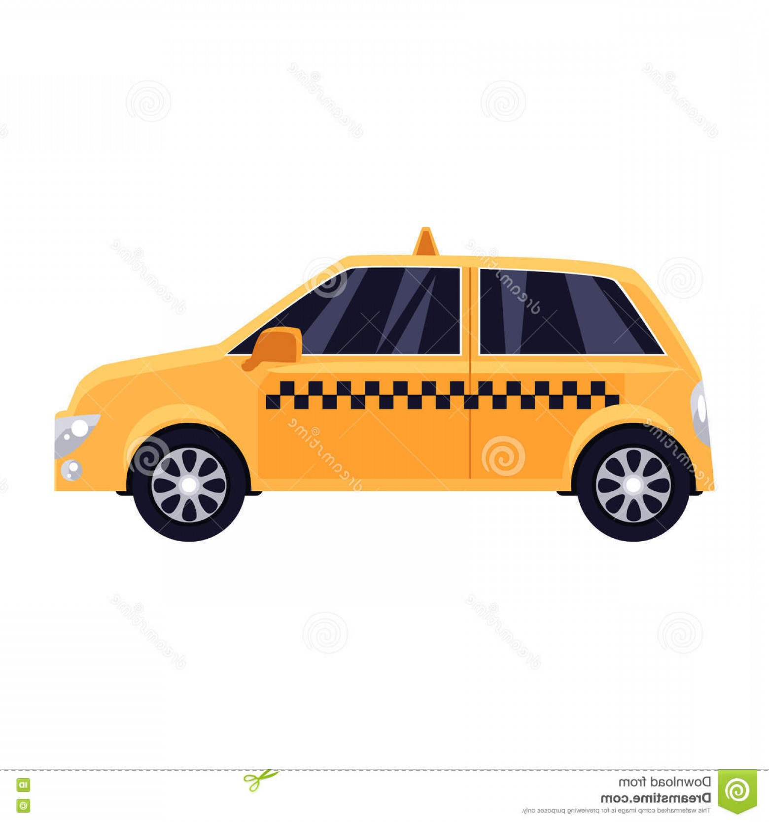 Taxi Checkers Vector: Stock Illustration Traditional Yellow Taxi Checker Pattern Cartoon Vector Illustration Isolated White Background Urban Image