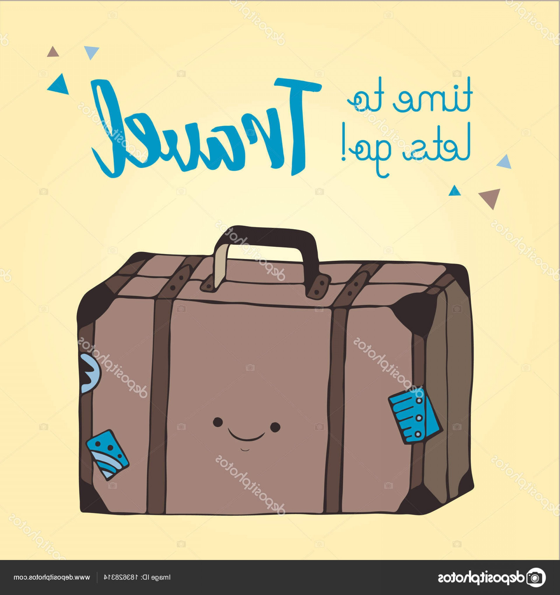 Vintage Luggage Vector: Stock Illustration Travel Bag Illustration Hand Drawn