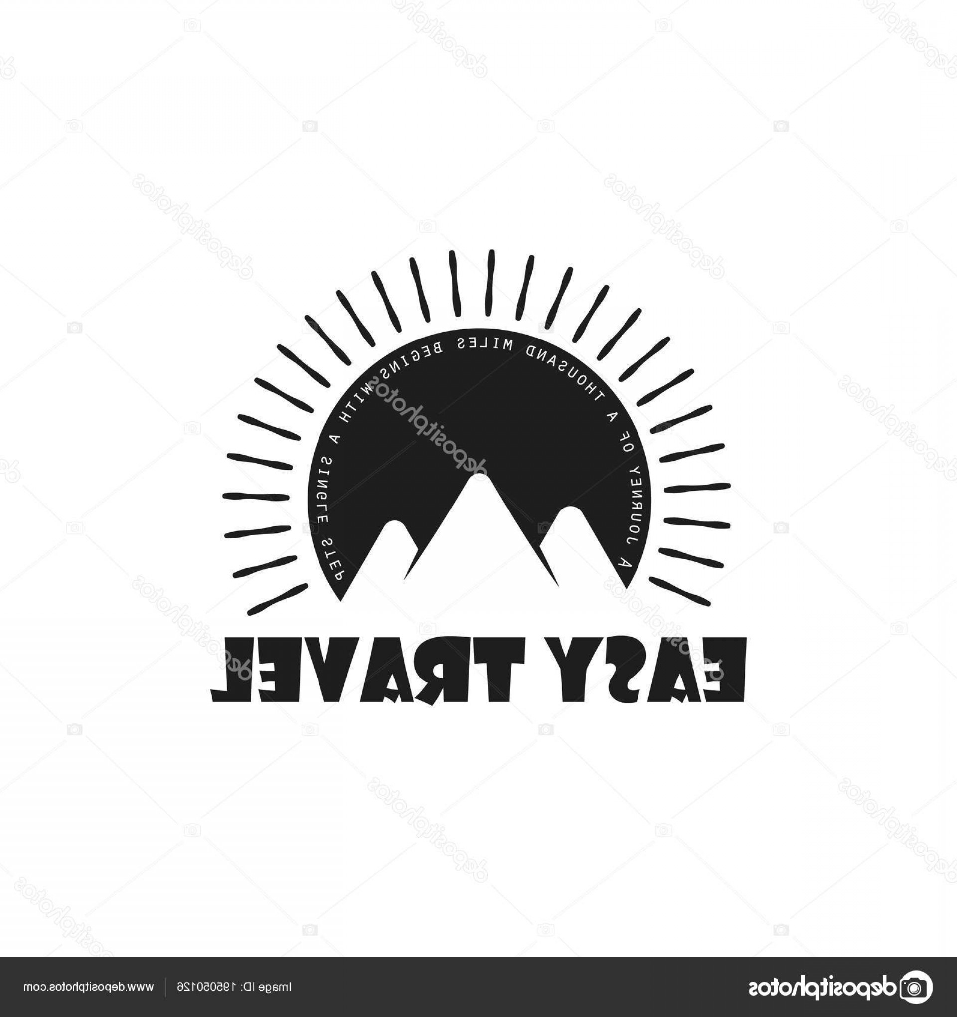 Sunset Black And White Backgrounds Vector: Stock Illustration Travel Logo Flat Style Mountains