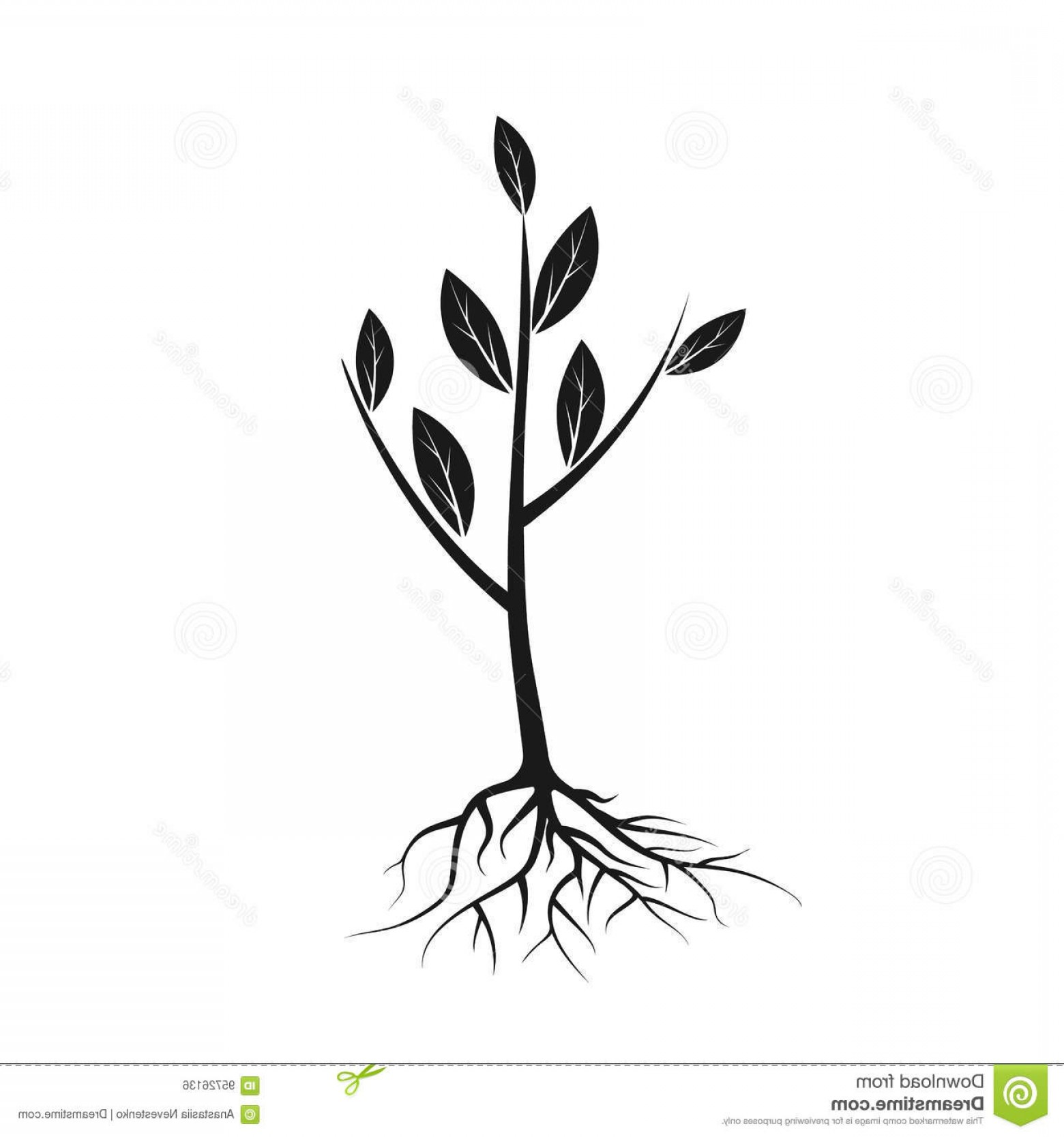 Sapling Vector Tree Silhouette Art: Stock Illustration Tree Icon Black Roots Leaves Young Sapling Ready Planting Planting Greenery Concept Gardening Agriculture New Image