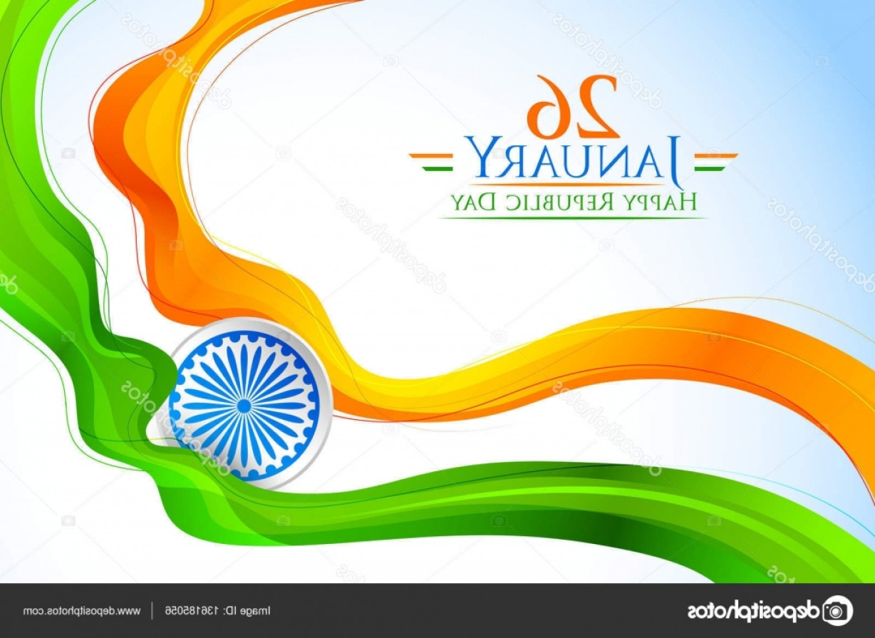 India Flag Vector: Stock Illustration Tricolor India Banner With Indian
