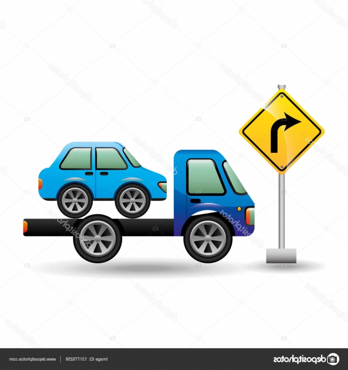 Gruas Truck Vector: Stock Illustration Truck Crane And Car With