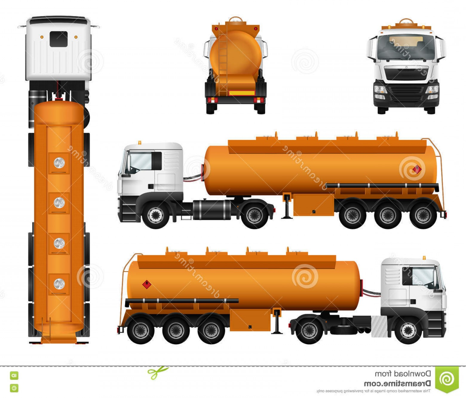 Vector Semi Tanker: Stock Illustration Truck Trailer Vector Template Fuel Gas Tanker Car White Background Cargo Image