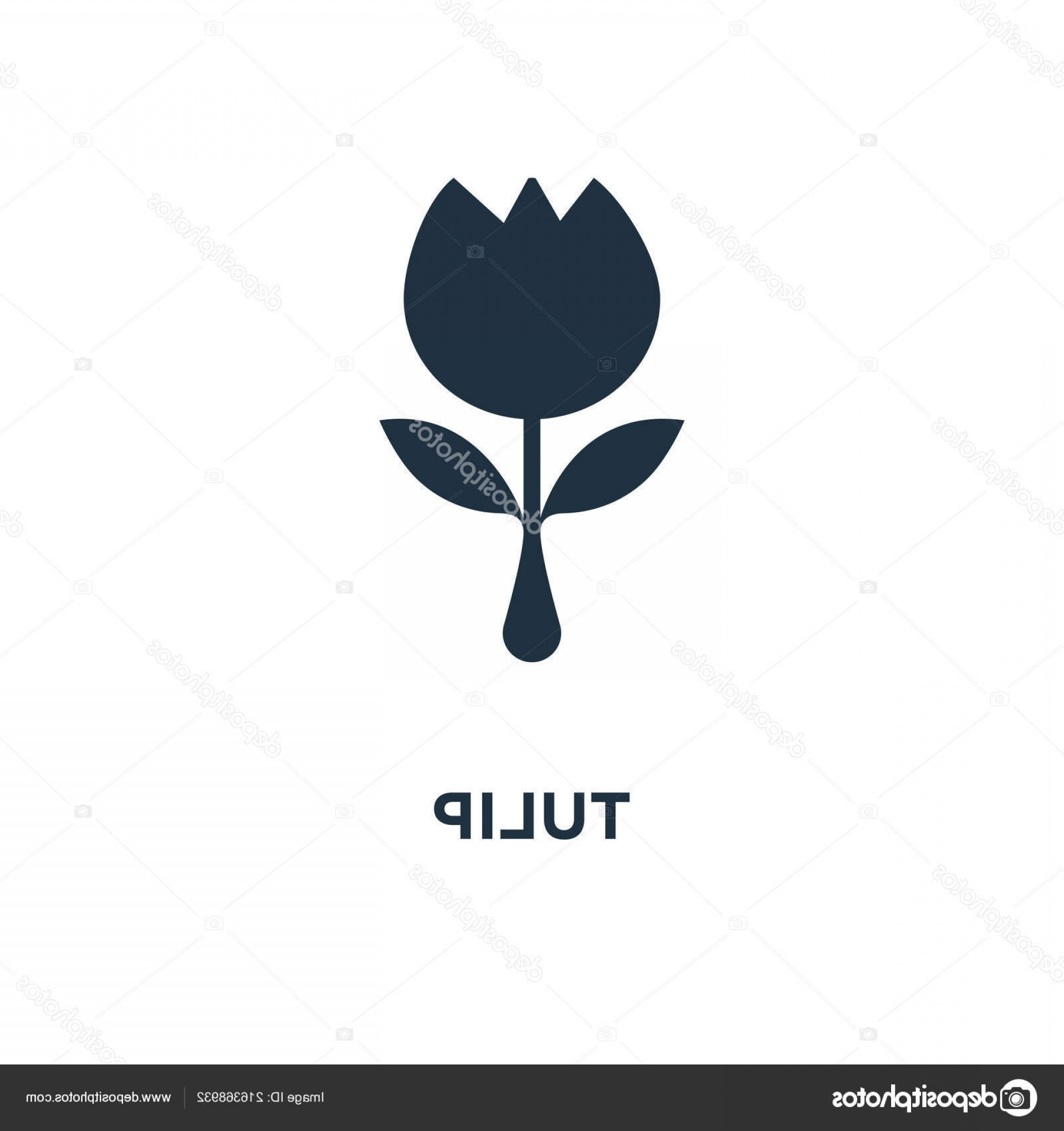 Tulip Icon Vector: Stock Illustration Tulip Icon Black Filled Vector