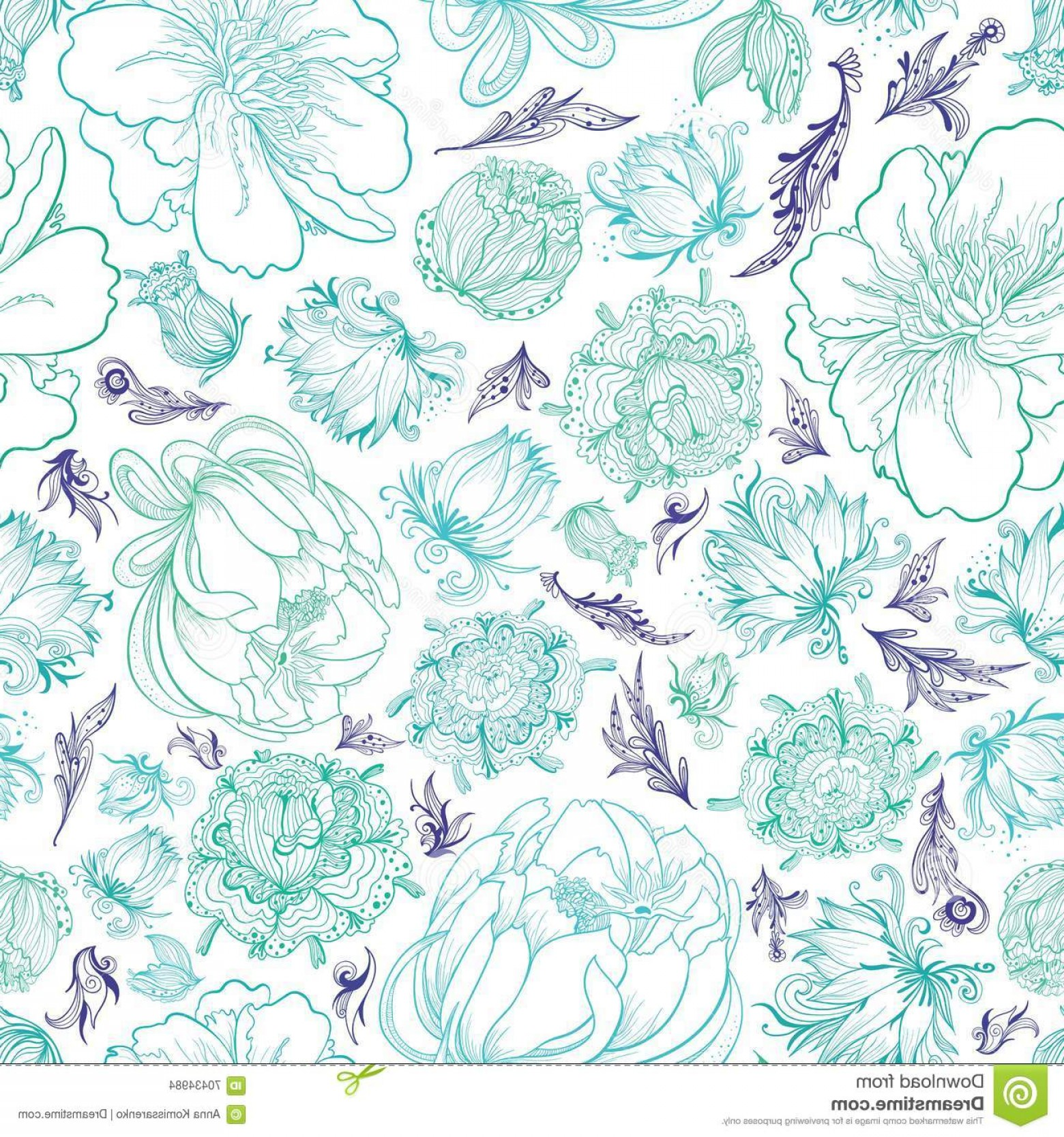 Turquoise Flower Vector: Stock Illustration Turquoise Vector Sketch Floral Pattern Seamless Romantic Elegant Background Ornamental Doodle Style Flowers Image