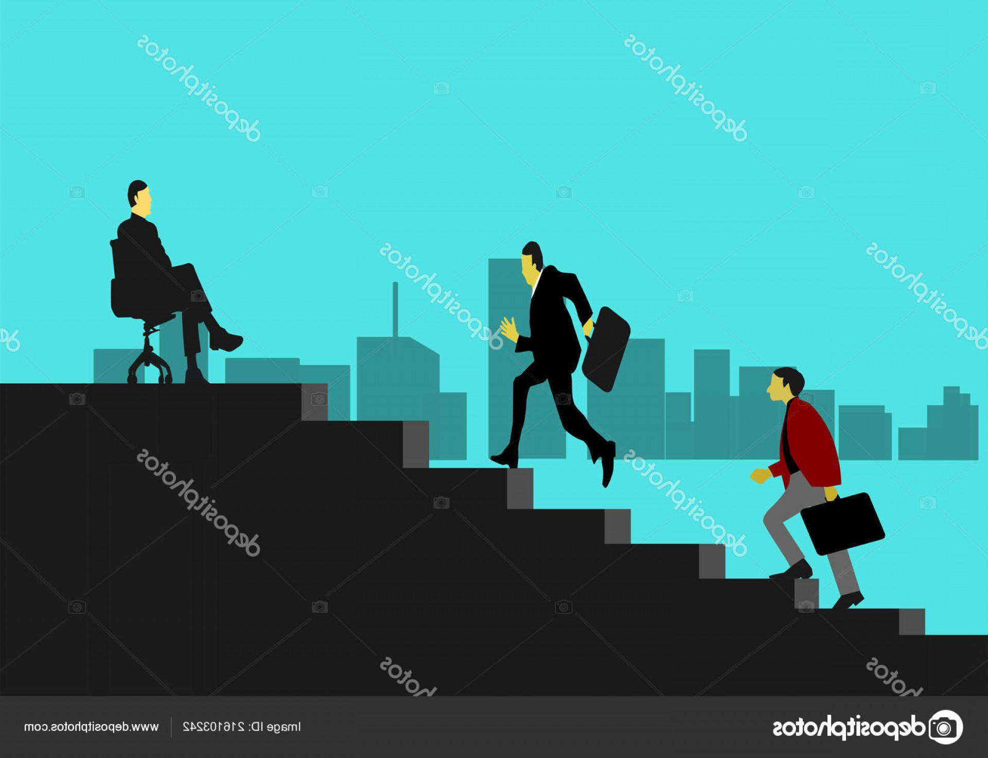 Stair Climb Vector: Stock Illustration Two Businessmen Climbing Stairs Order