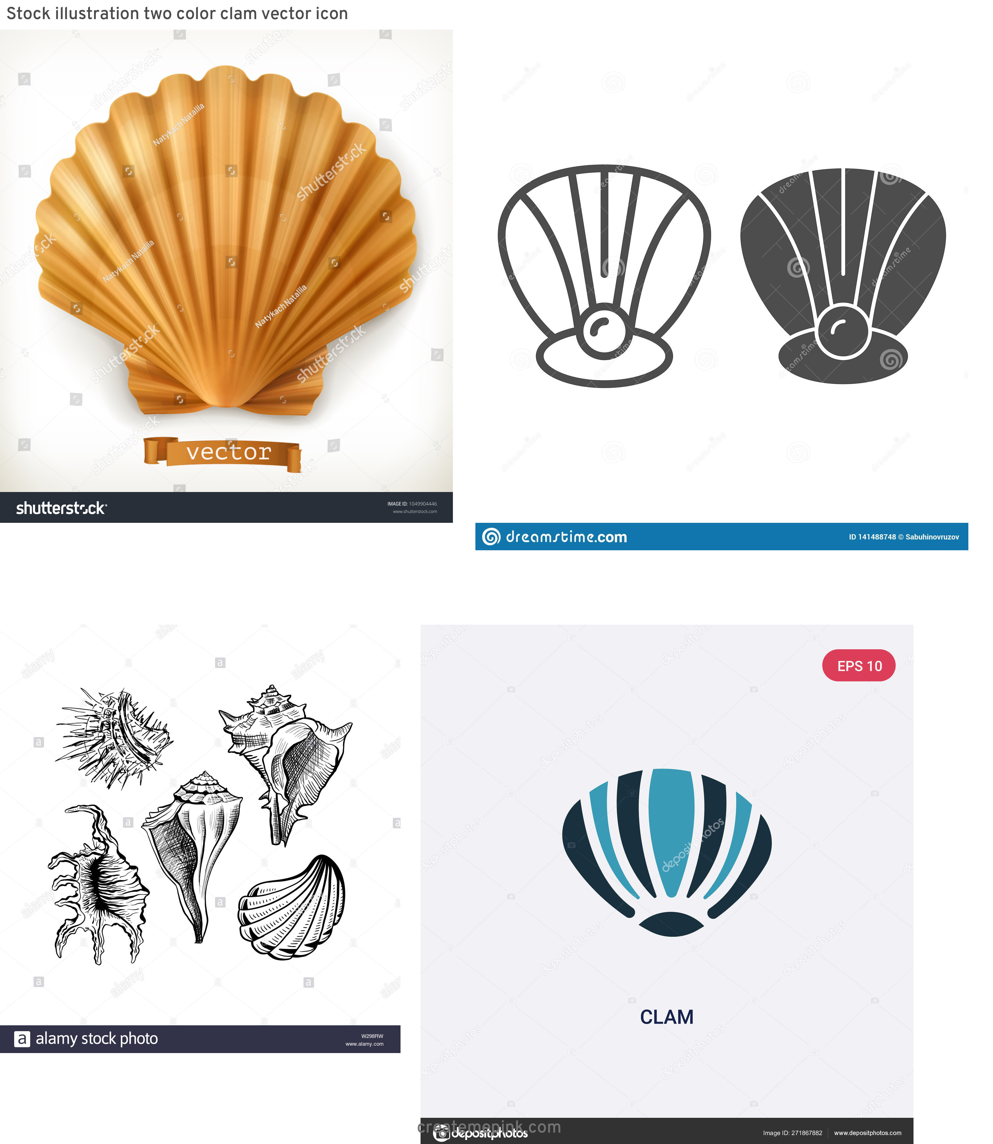 Clam Vector: Stock Illustration Two Color Clam Vector Icon