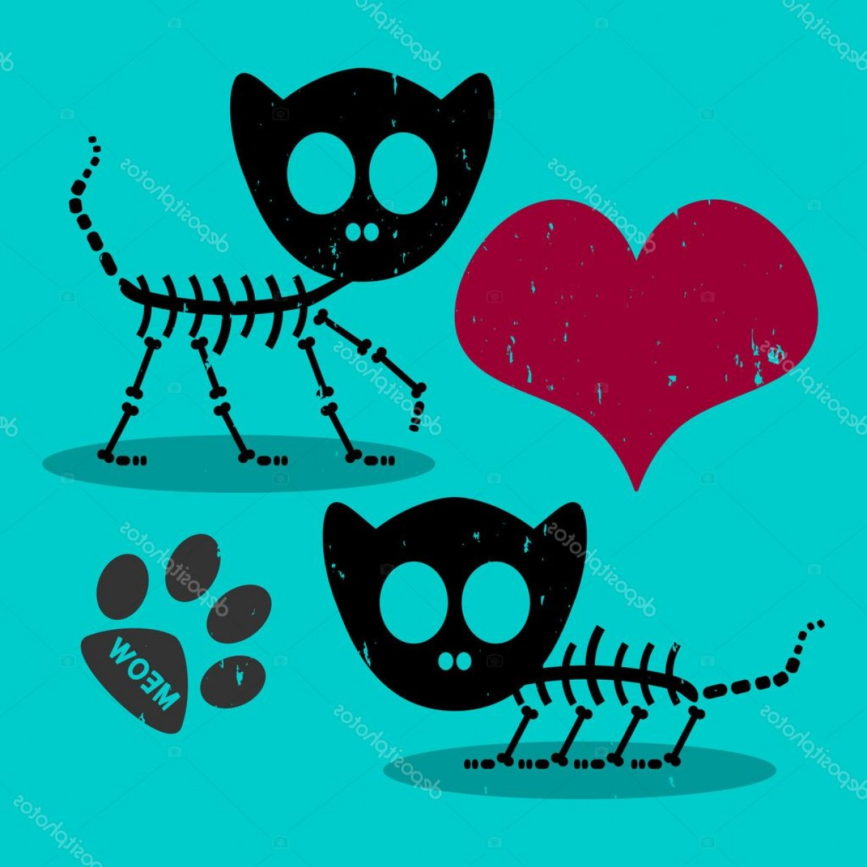 Skeletons In Love Vector: Stock Illustration Two Cute Cat Skeletons In