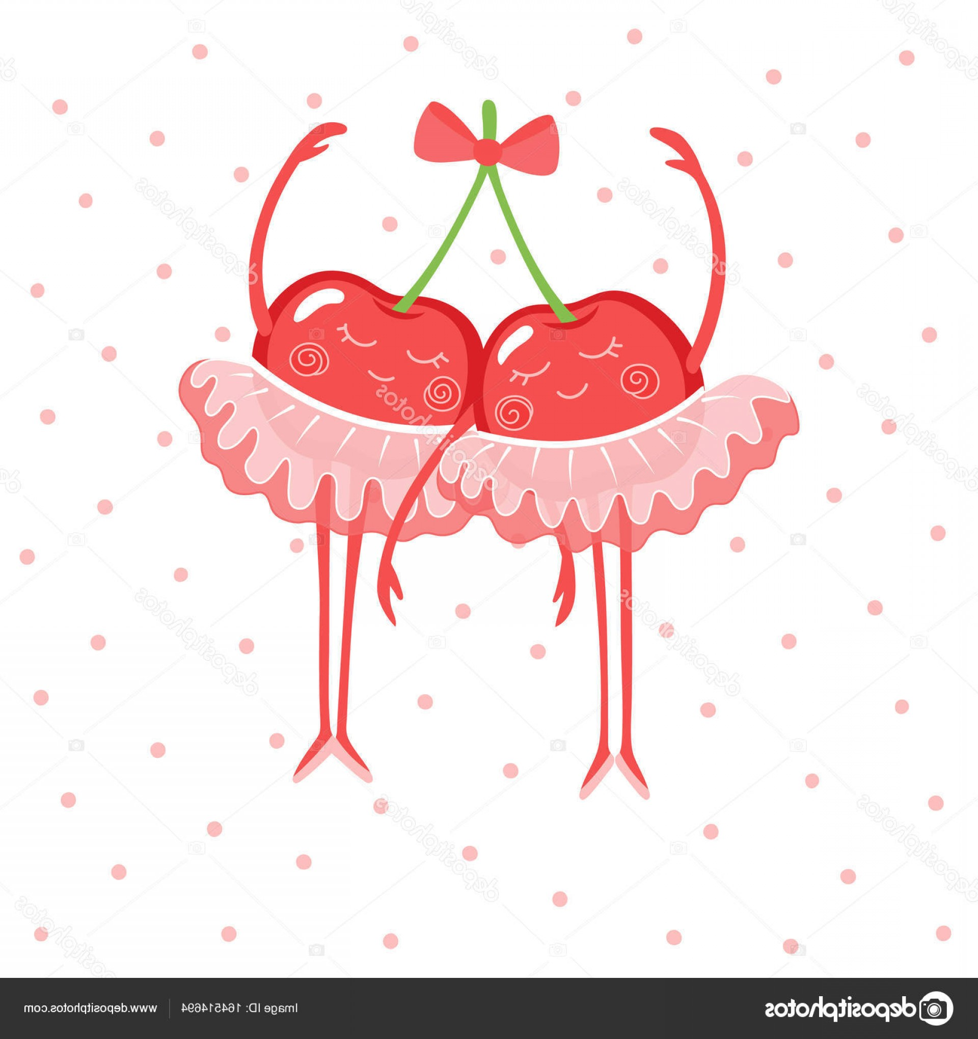 Ballet Vector Babydancer: Stock Illustration Two Cute Cherry Ballerinas In