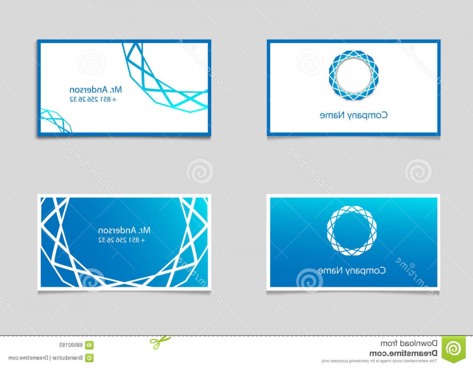 When Two Vectors Are Parallel: Stock Illustration Two Vector Business Card Templates Blue Gradient Company Logo Image