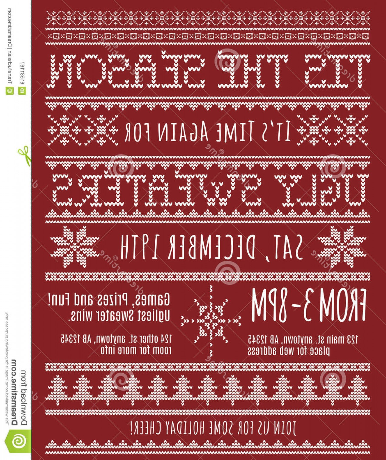 Christmas Sweater Design Vector: Stock Illustration Ugly Christmas Sweater Party Invitation Template Knitted Design Effect Image