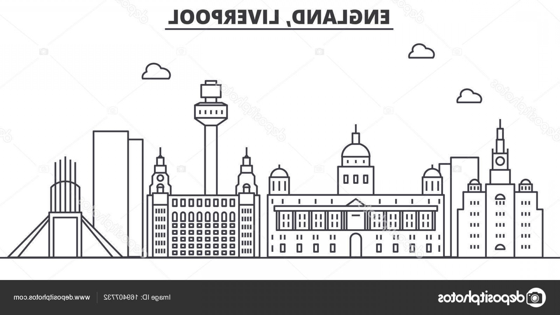 UK Skyline Vector: Stock Illustration Uk Liverpool Architecture Line Skyline