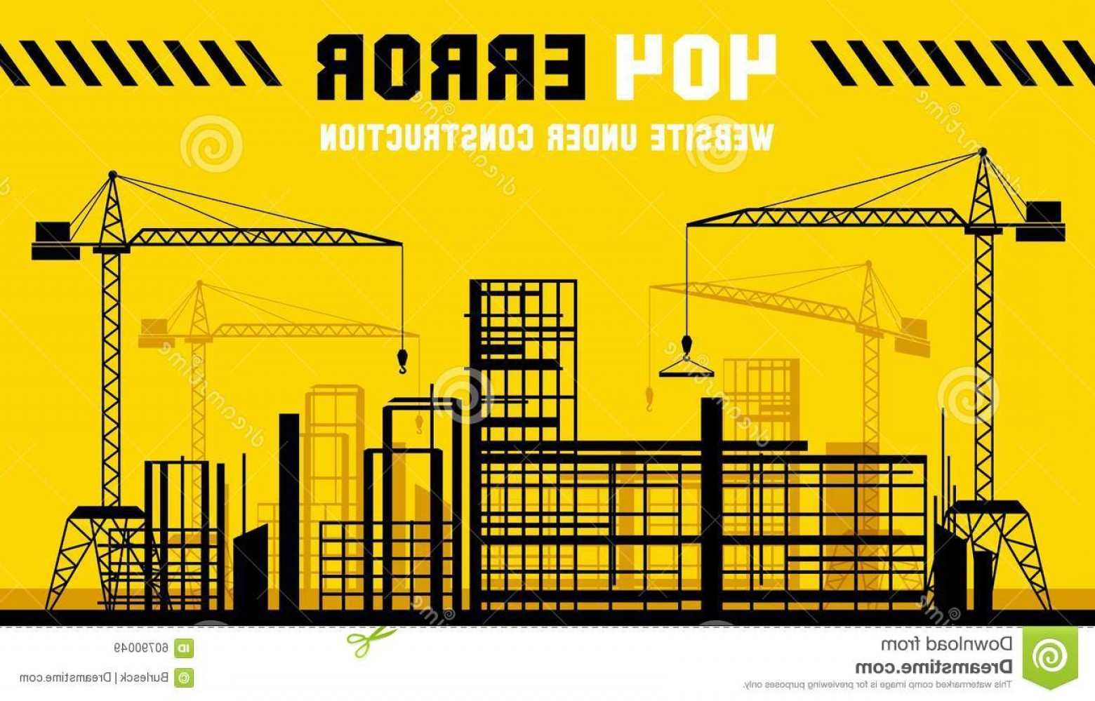 Vector Under Construction Template: Stock Illustration Under Construction Site Page Vector Template Construct Web Error Banner Illustration Image
