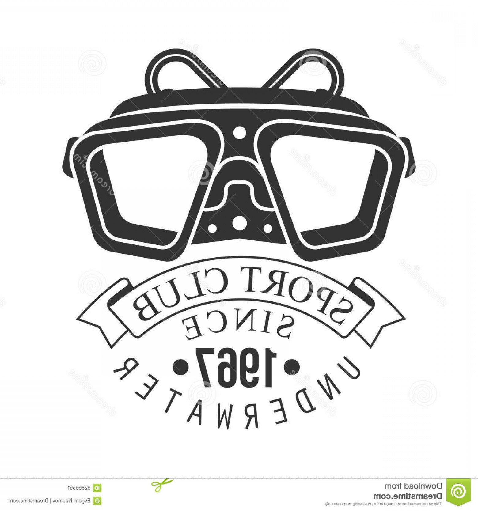 Dive Mask E Vectors: Stock Illustration Underwater Sport Club Vintage Logo Black White Vector Illustration Diver School Emblem Elements Badge Image