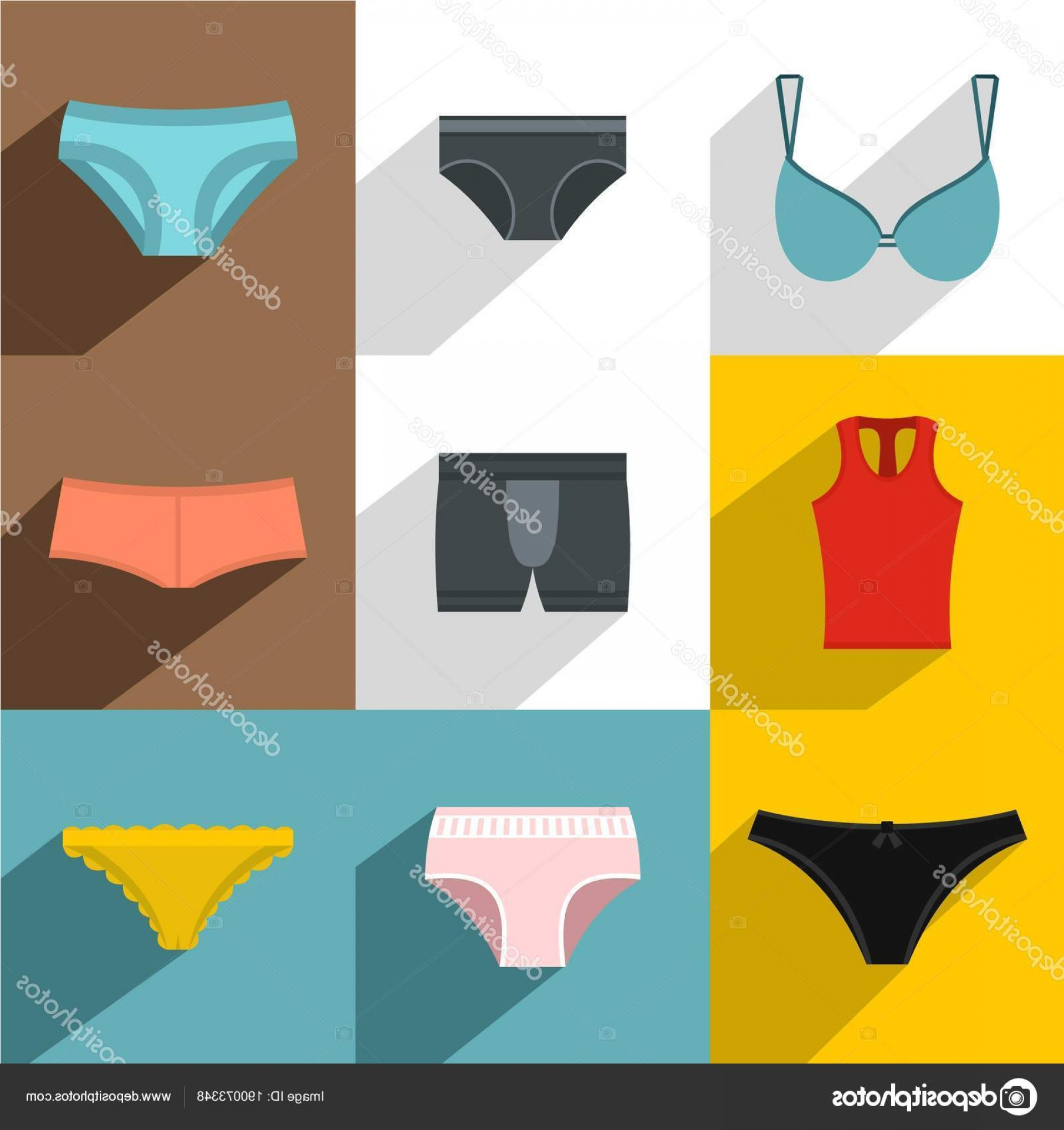 Underwear Icon Design Vector: Stock Illustration Underwear Icon Set Flat Style