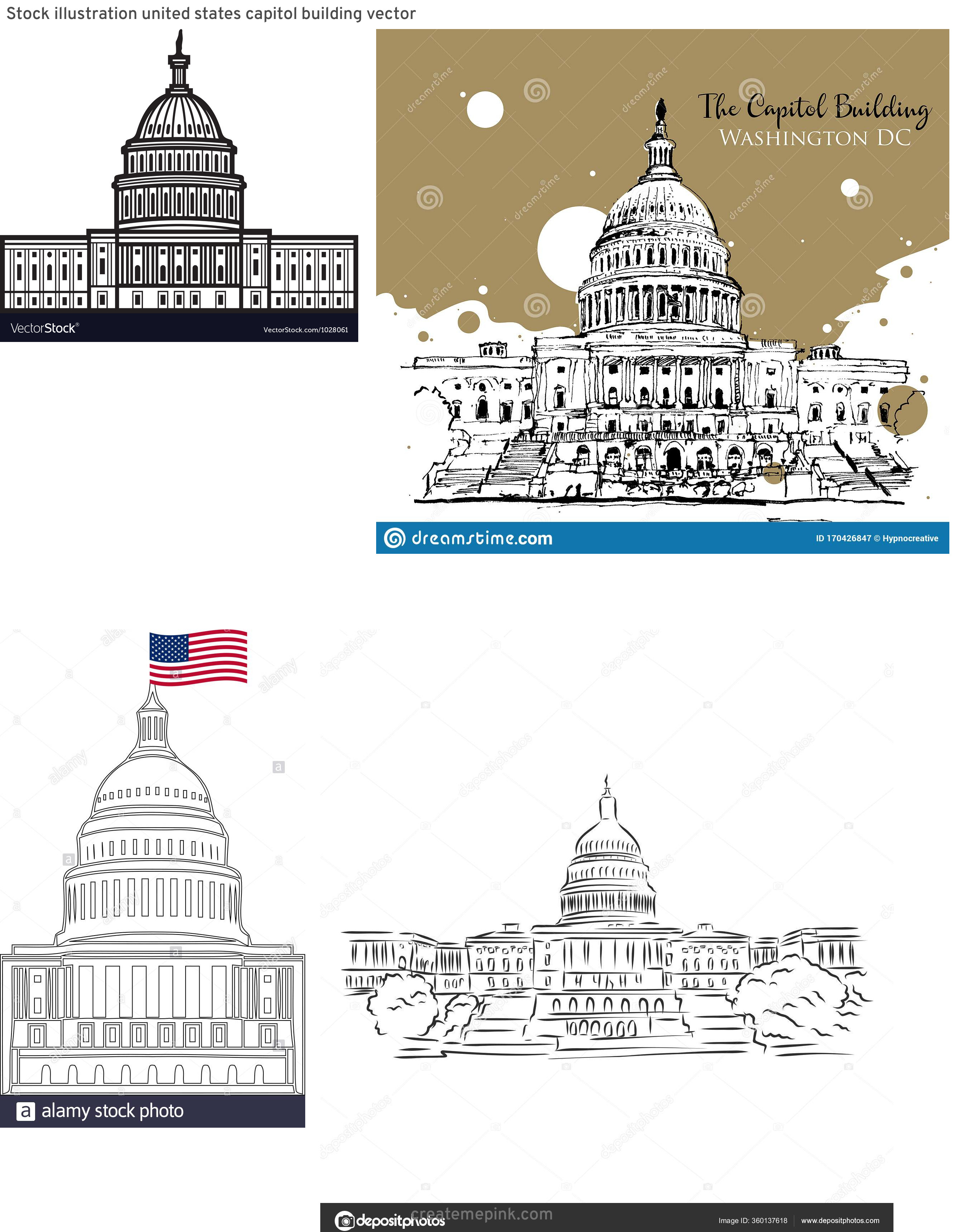 US Capital Vector Line Drawing: Stock Illustration United States Capitol Building Vector