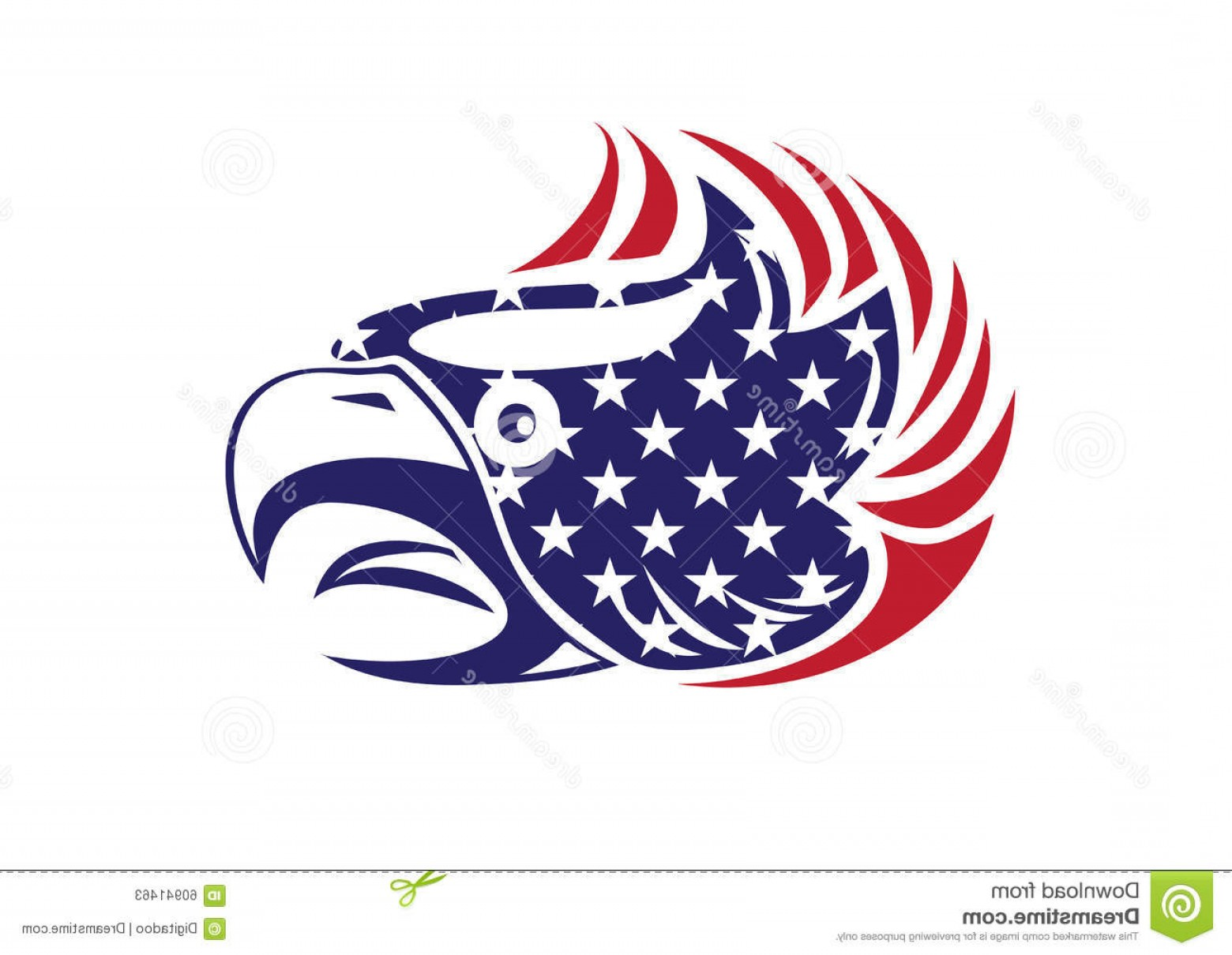 Patriotic Bald Eagle Vector: Stock Illustration Usa Flag Patriotic Eagle Bald Hawk Head Vector Logo Object Image