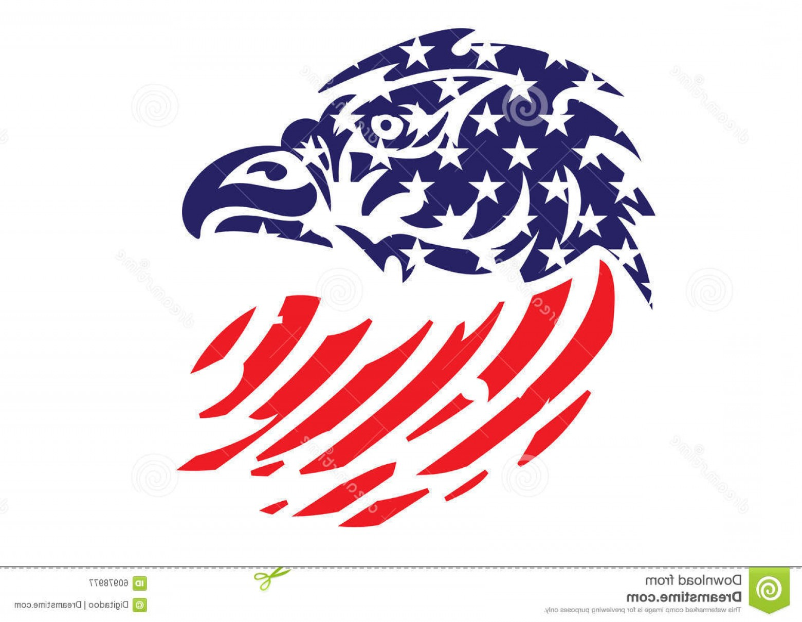Patriotic Bald Eagle Vector: Stock Illustration Usa Flag Patriotic Eagle Bald Hawk Head Vector Object American Logo Image