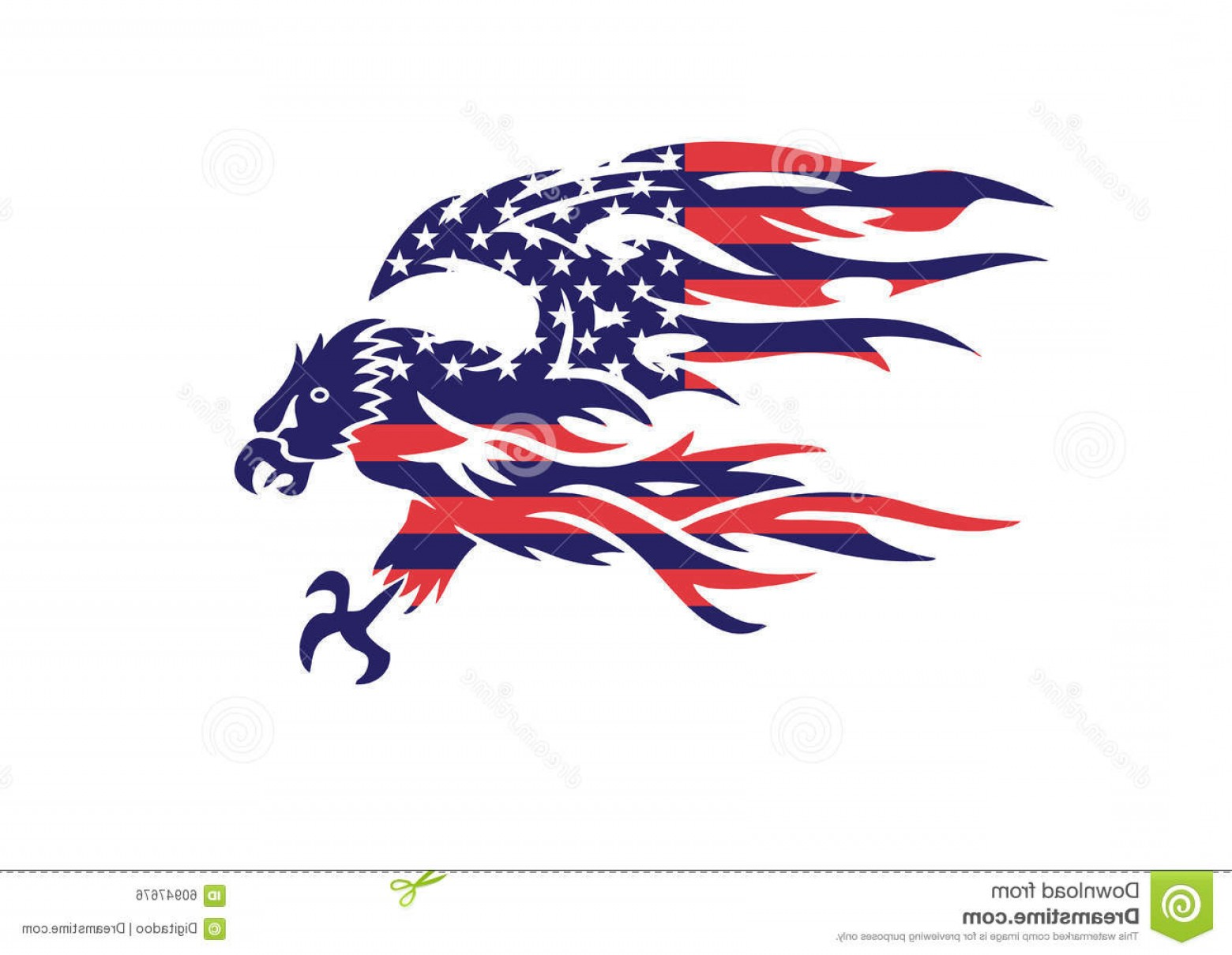 Patriotic Bald Eagle Vector: Stock Illustration Usa Flag Patriotic Eagle Bald Hawk Vector Logo Head Object Image