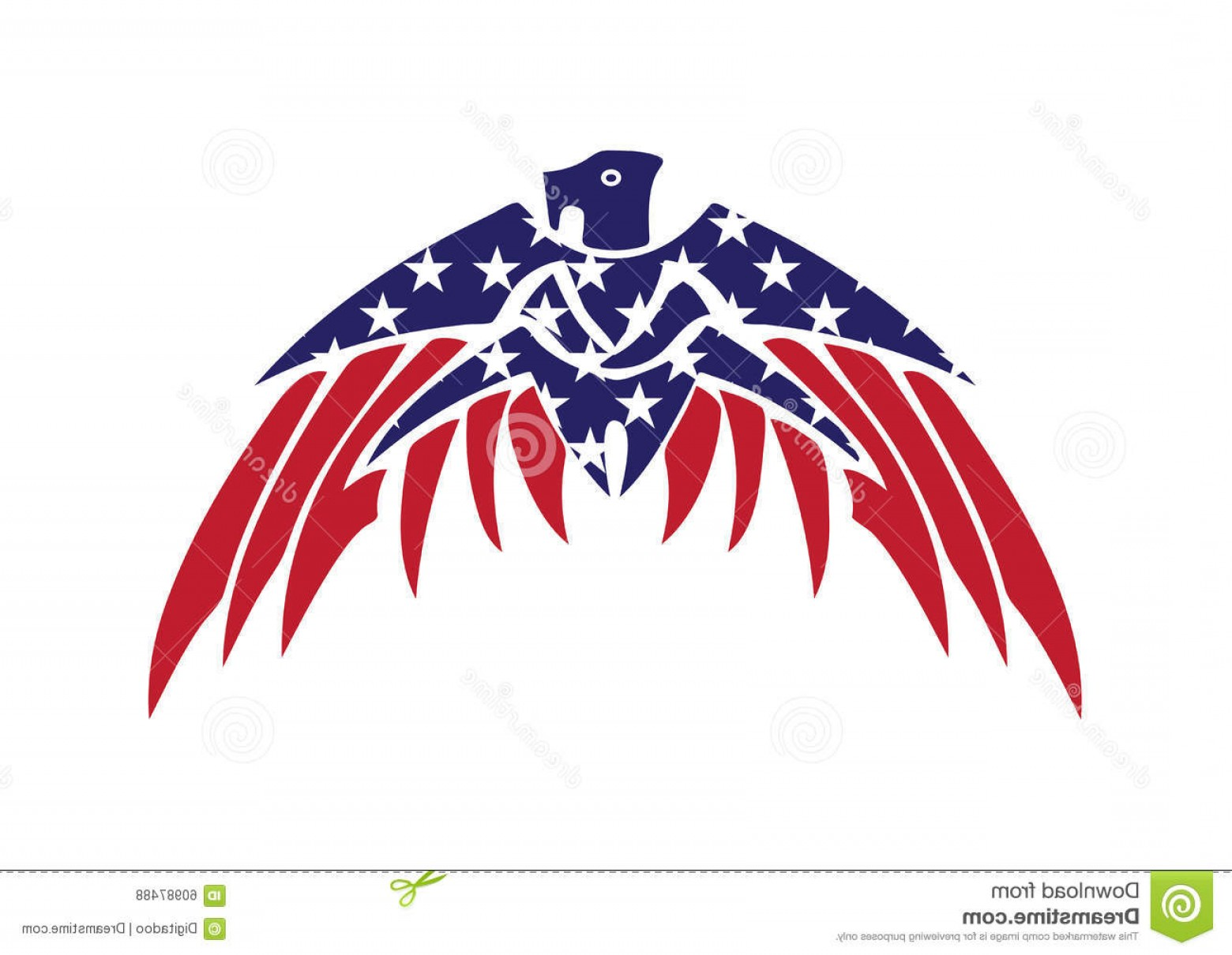 Patriotic Bald Eagle Vector: Stock Illustration Usa Flag Patriotic Eagle Bald Hawk Vector Logo Object Image