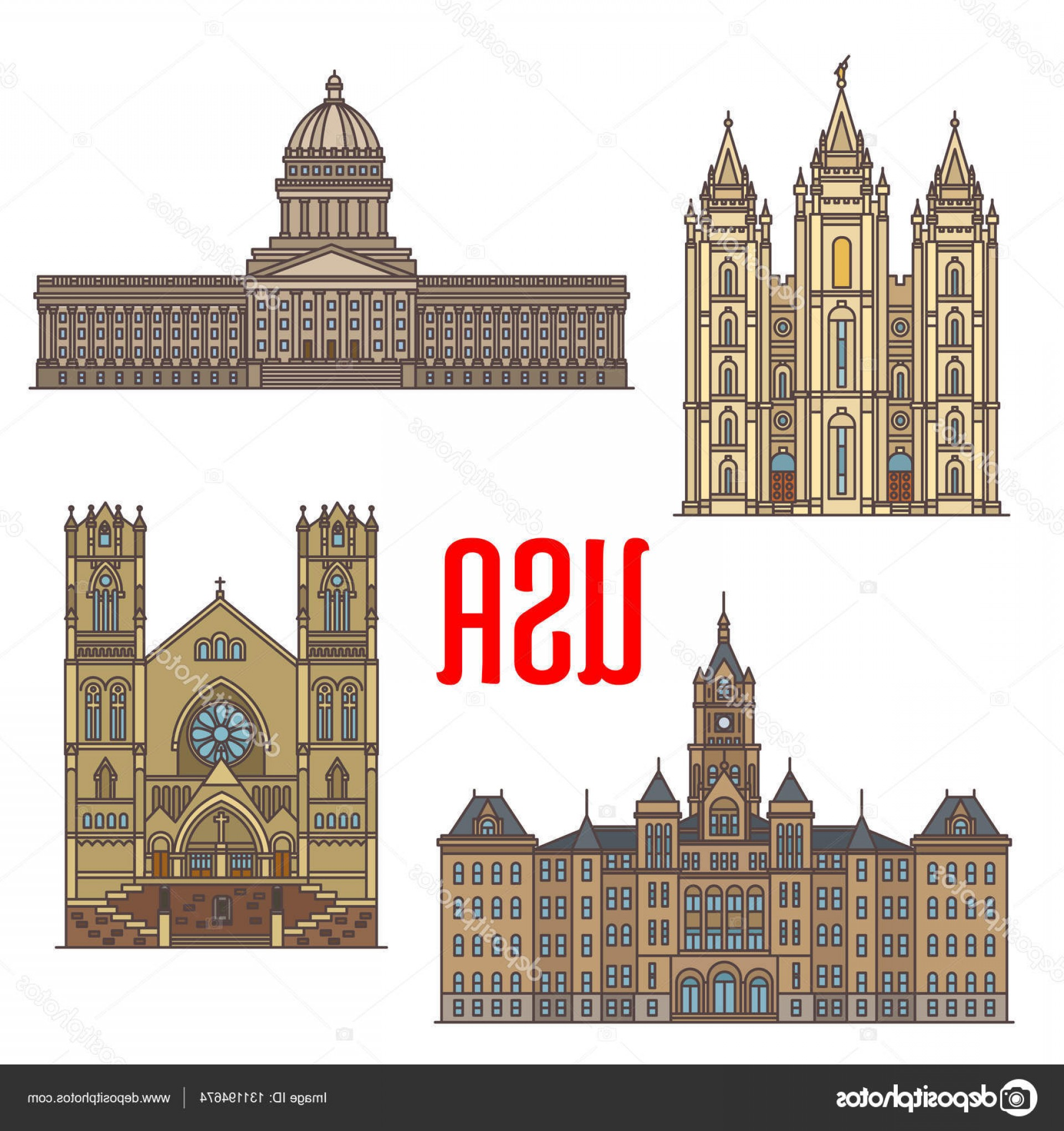 Salt Lake City Temple Vector: Stock Illustration Usa Travel Landmarks Icon Of