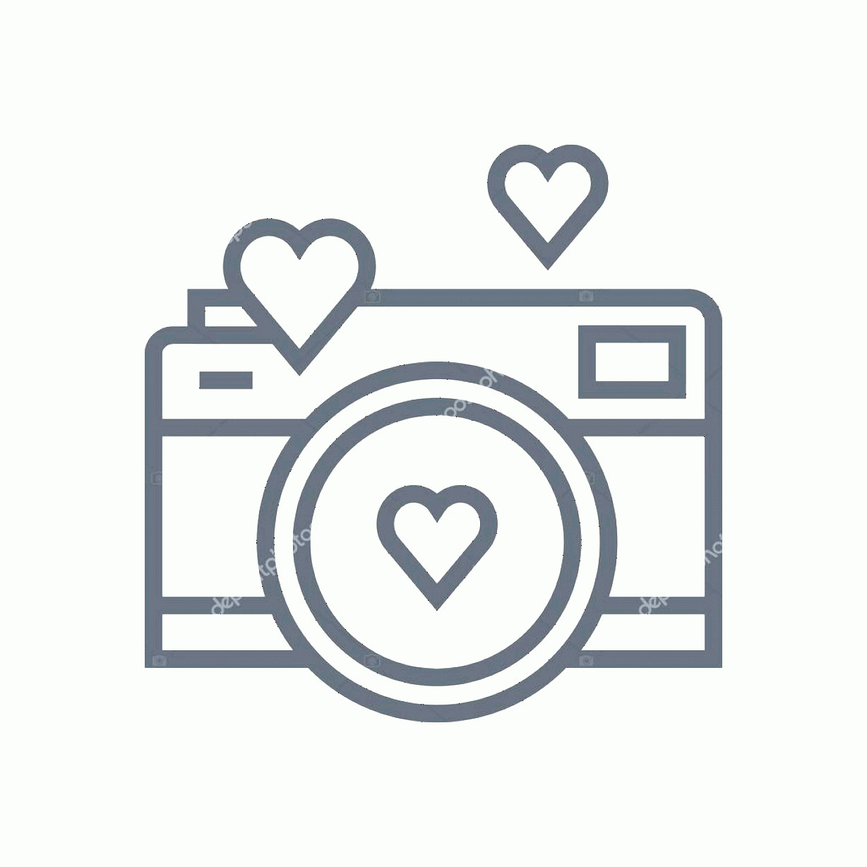 Camera Heart Clip Art Vector: Stock Illustration Valentines Day Camera Icon