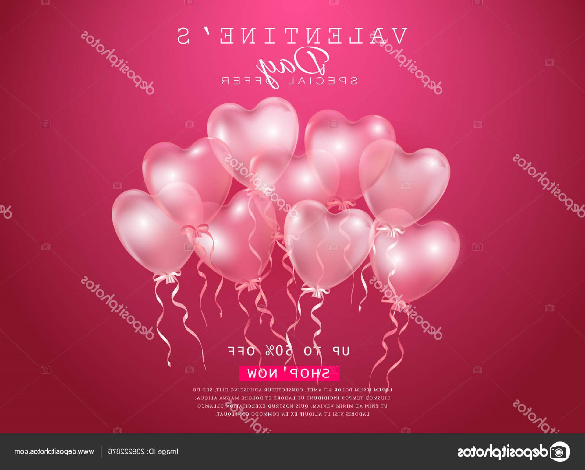 Balloons Vector Wallpaper: Stock Illustration Valentines Day Sale Background With