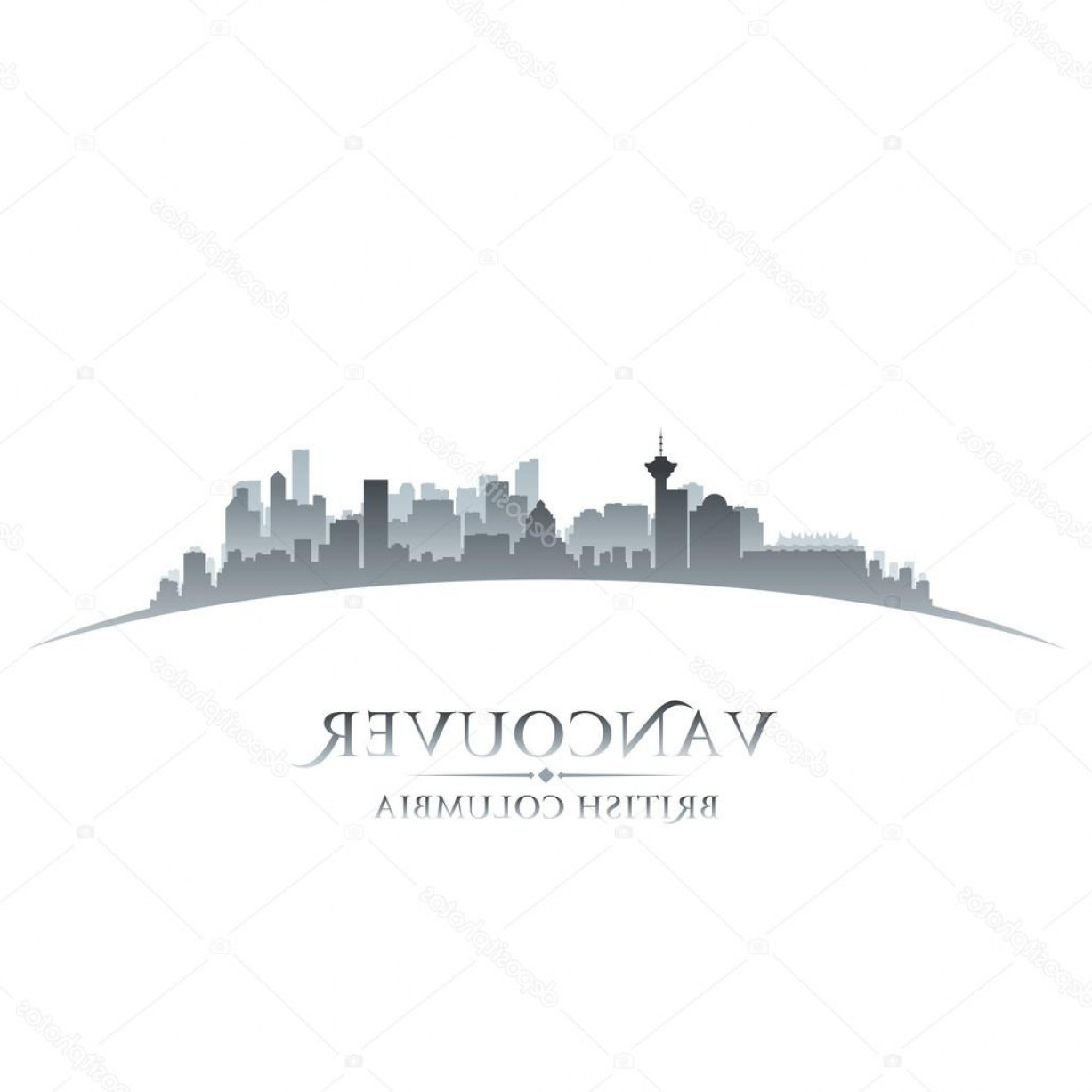 Vancouver Skyline Vector: Stock Illustration Vancouver British Columbia City Skyline