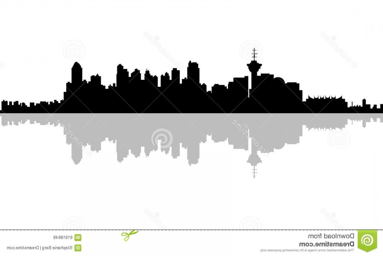 Vancouver Skyline Vector: Stock Illustration Vancouver Silhouette Skyline City British Columbia Canada Image