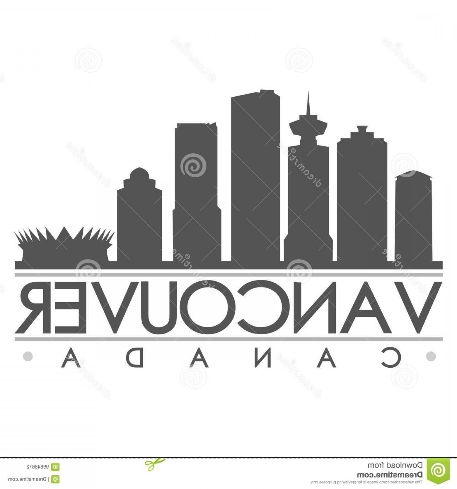 Vancouver Skyline Vector: Stock Illustration Vancouver Skyline Silhouette Design City Vector Art Icon Vancouver Emblematic Buildings Image
