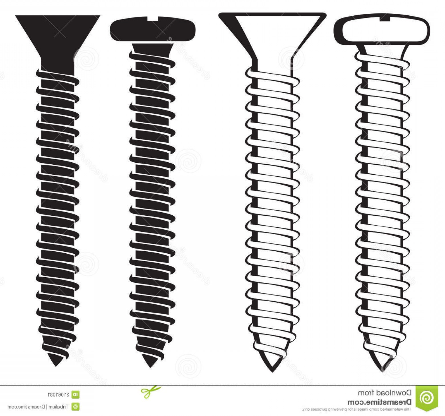 Screw Vector: Stock Illustration Various Screws Silhouettes Set Vector Dark Grey Side View Screw Silhouette Image