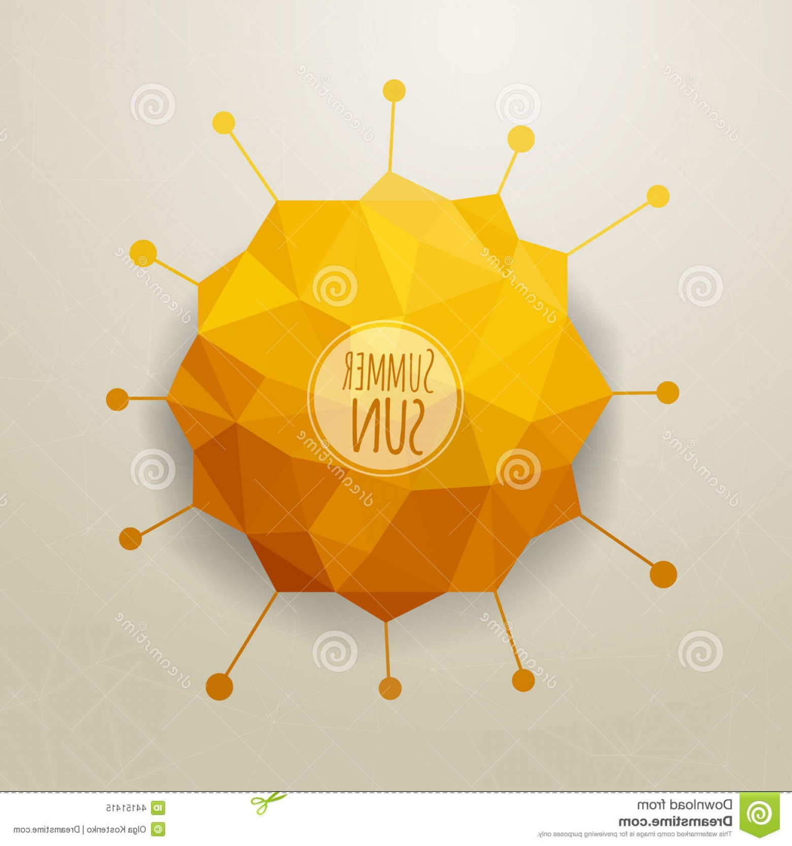 Geometric Sun Vector: Stock Illustration Vector Abstract Triangle Summer Sun Geometric Background Design Image