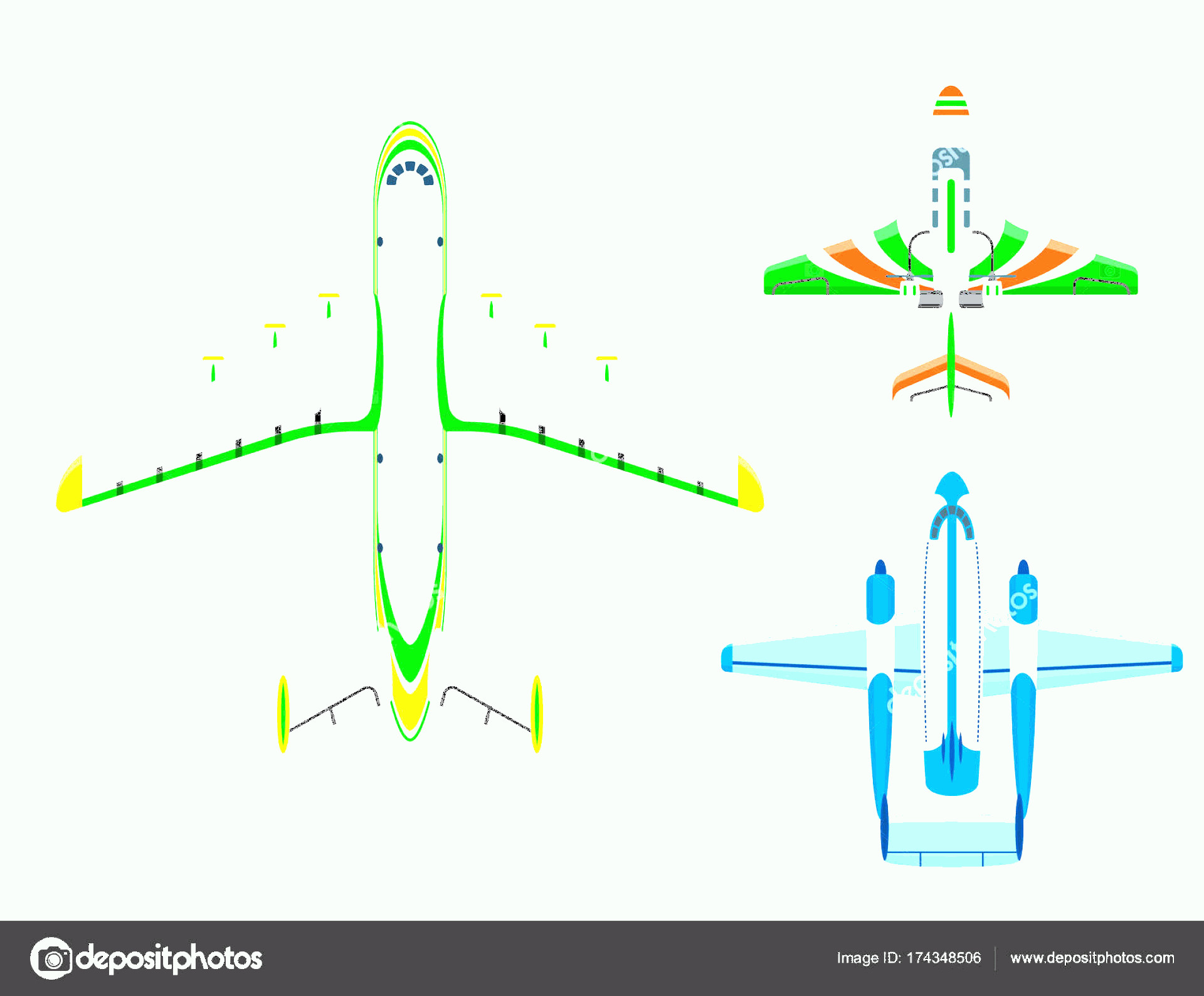 Aviation Vector Designs: Stock Illustration Vector Airplane Illustration Top View