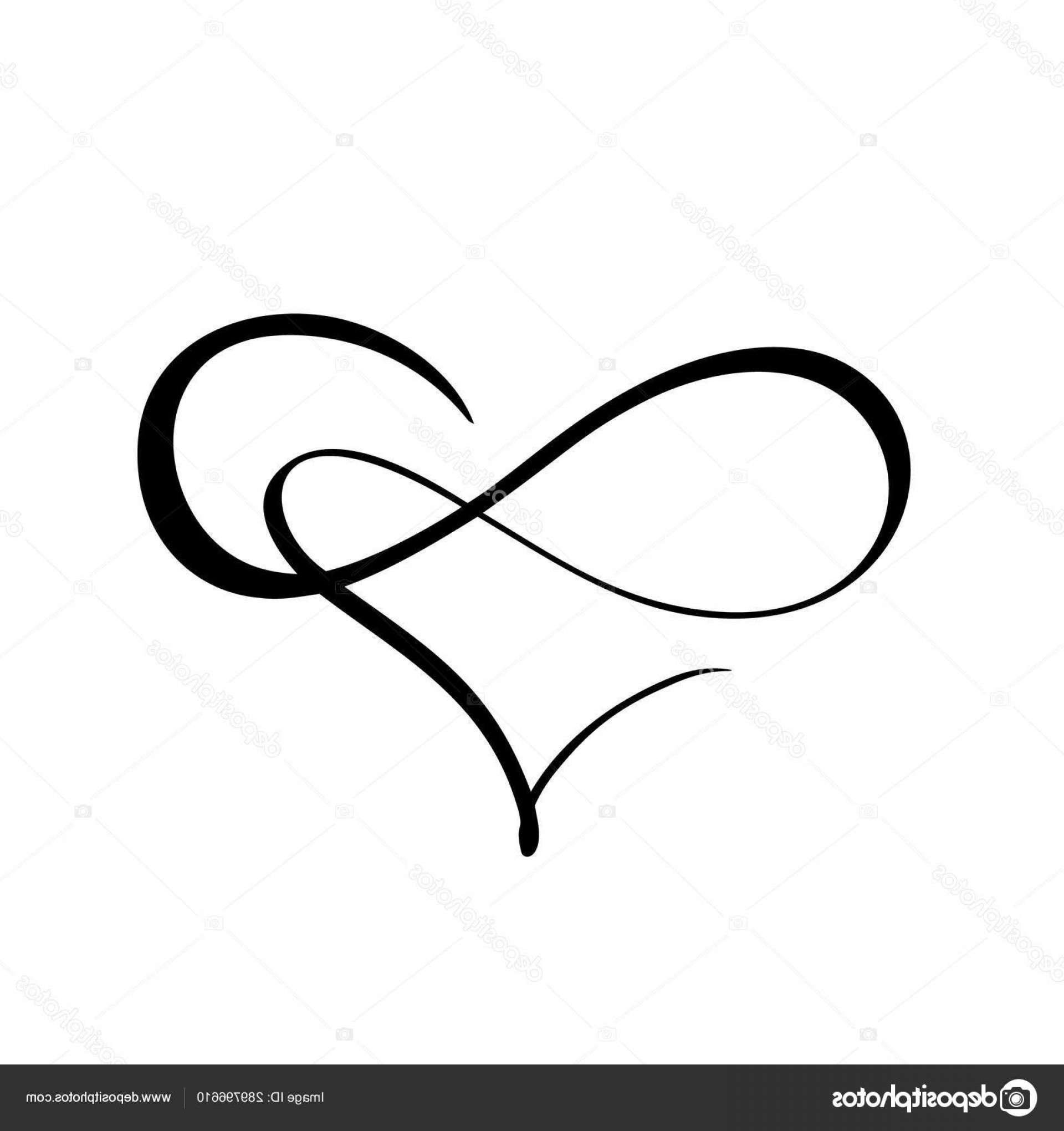 Vector Infinity Symbol Hearts: Stock Illustration Vector Black Heart With Infinity